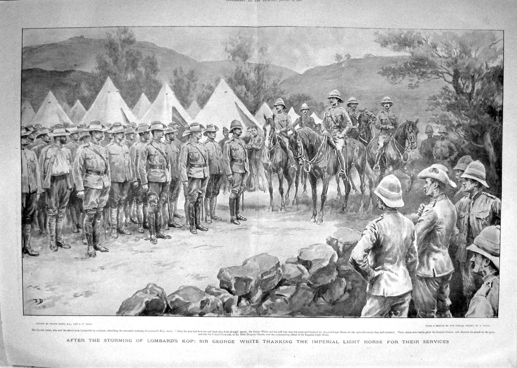 [Print 1900 War Africa Lombard Kop George White Edwards Hunter 1003M161 Old Original]