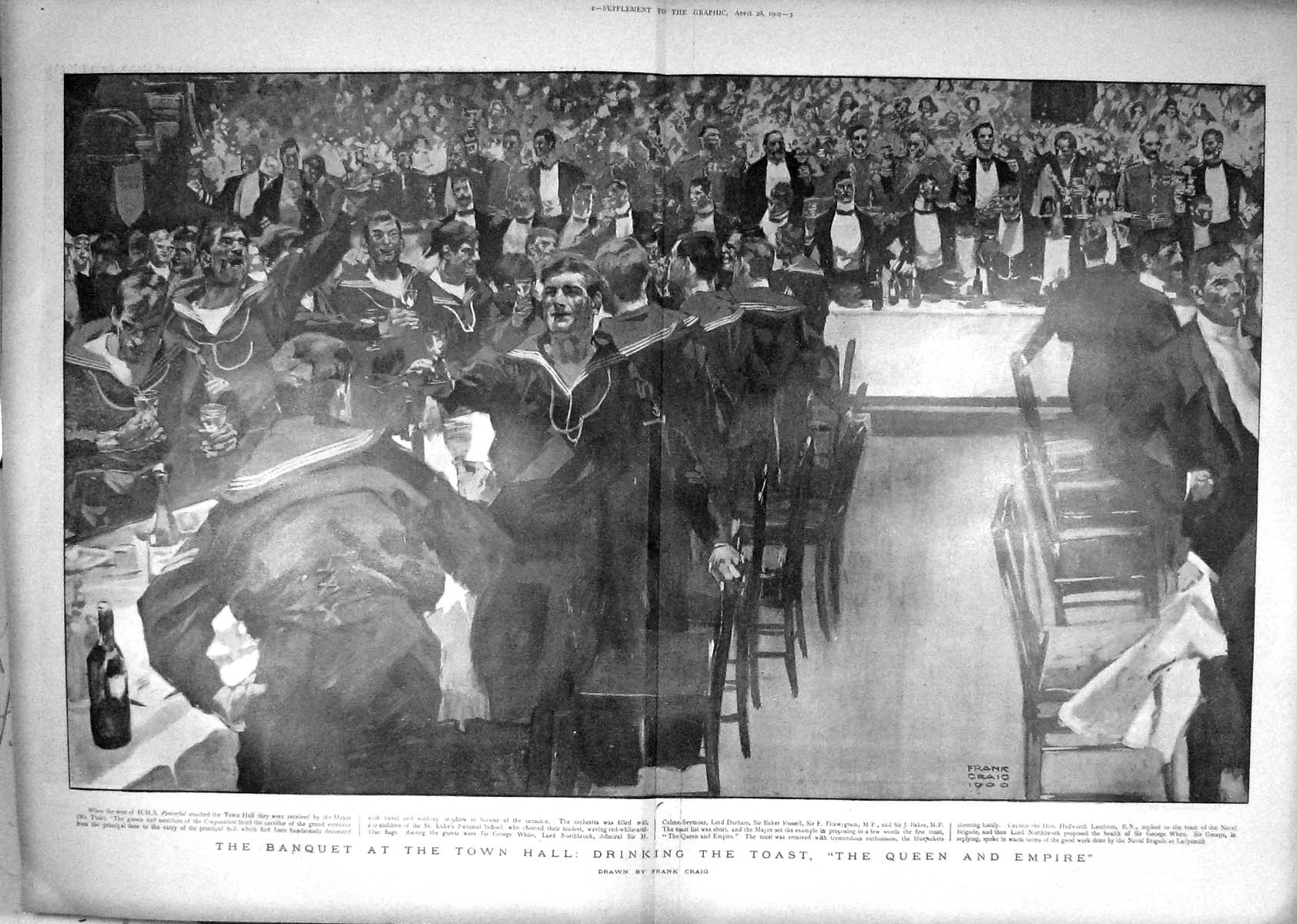 [Print 1900 Banquet Town Hall Toast Queen Northbrook Russell 1017M161 Old Original]
