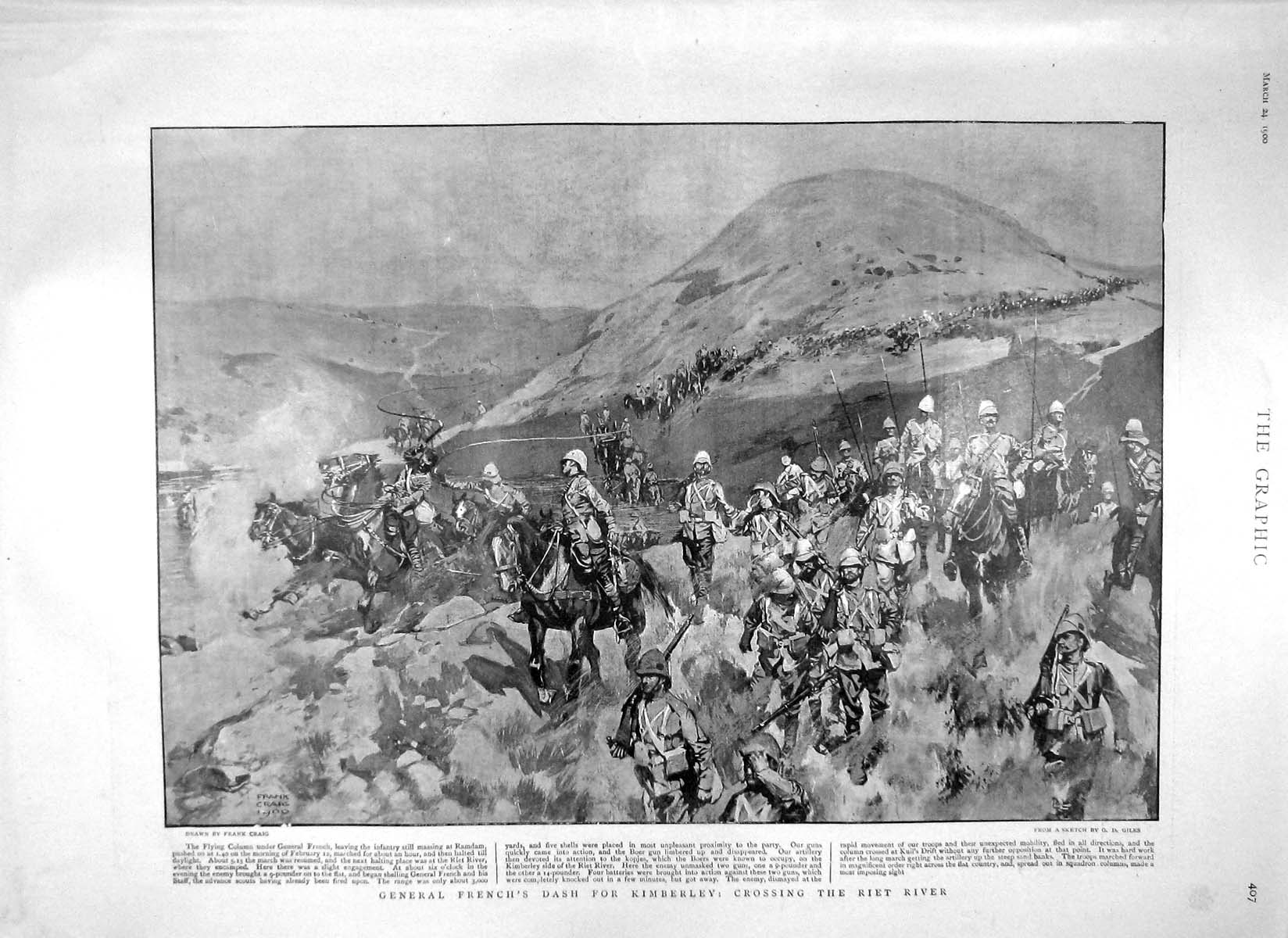 [Print 1900 General French Kimberley Riet River War Tower 407M161 Old Original]