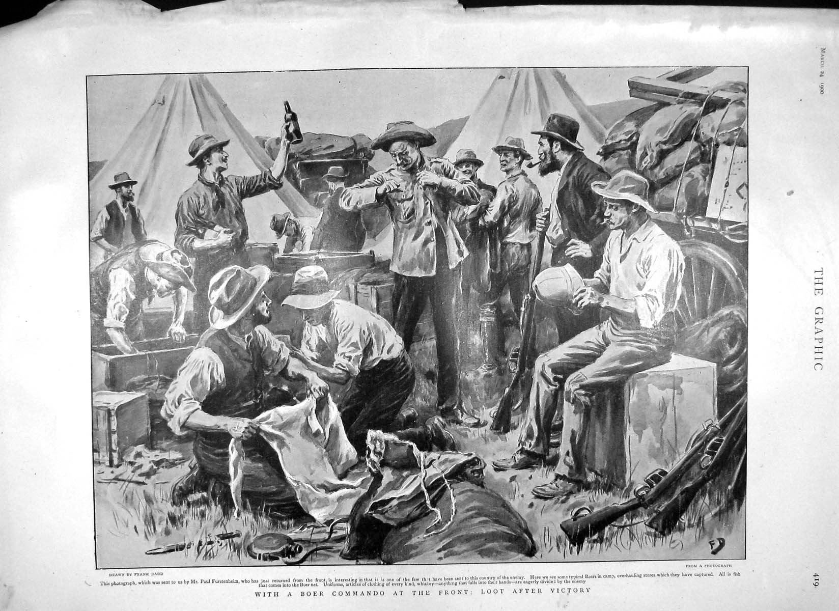 [Print 1900 Boer War Camp Loot Stores Kiosque Marques Harvey 419M161 Old Original]