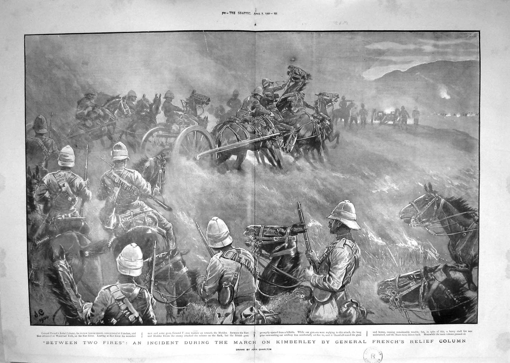 [Print 1900 March Kimberley General French Modder Soldiers War 499Tm161 Old Original]