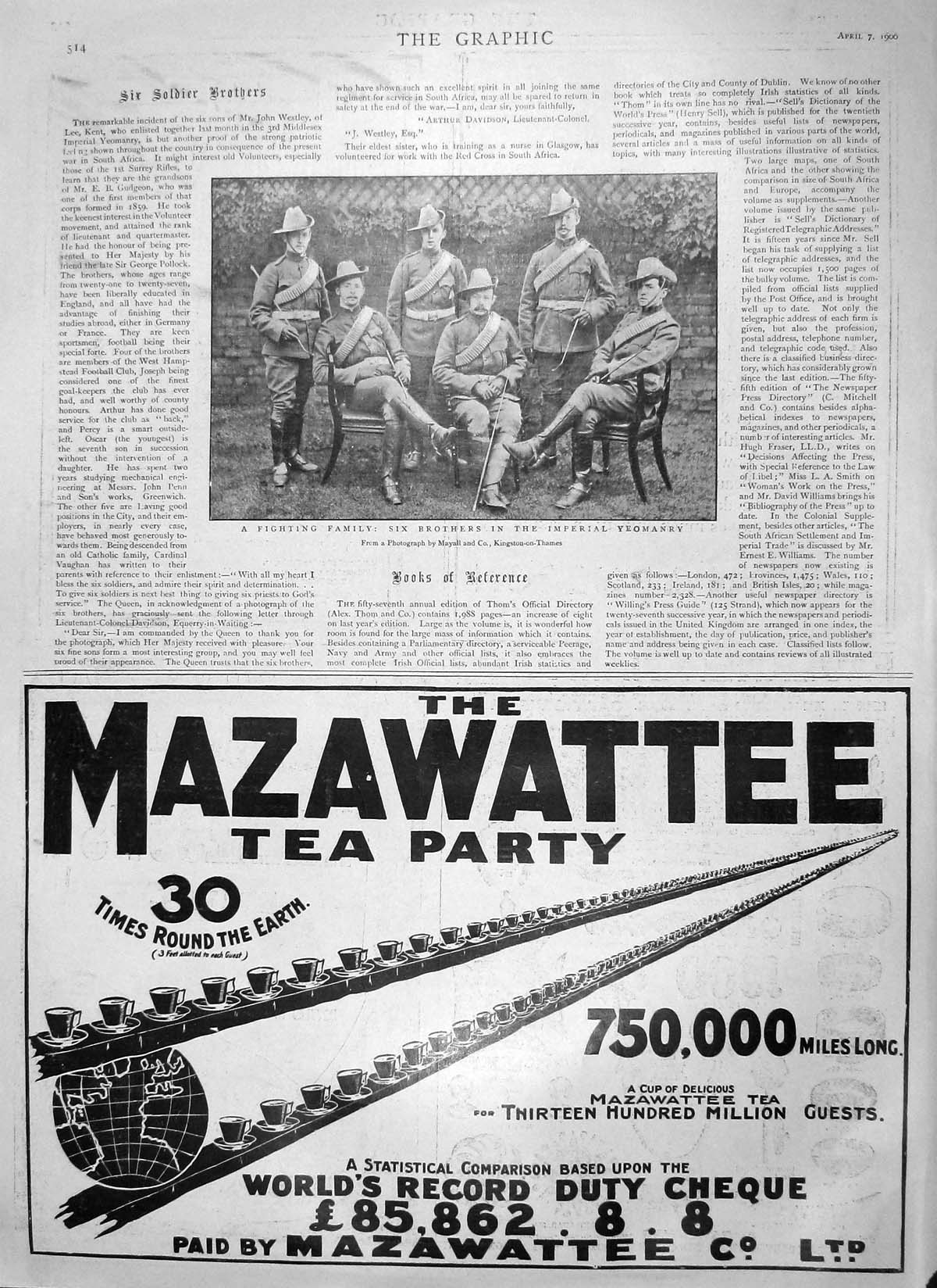 [Print 1900 War Soldiers Brothers Imperial Yeomanry Mazawattee 514M161 Old Original]