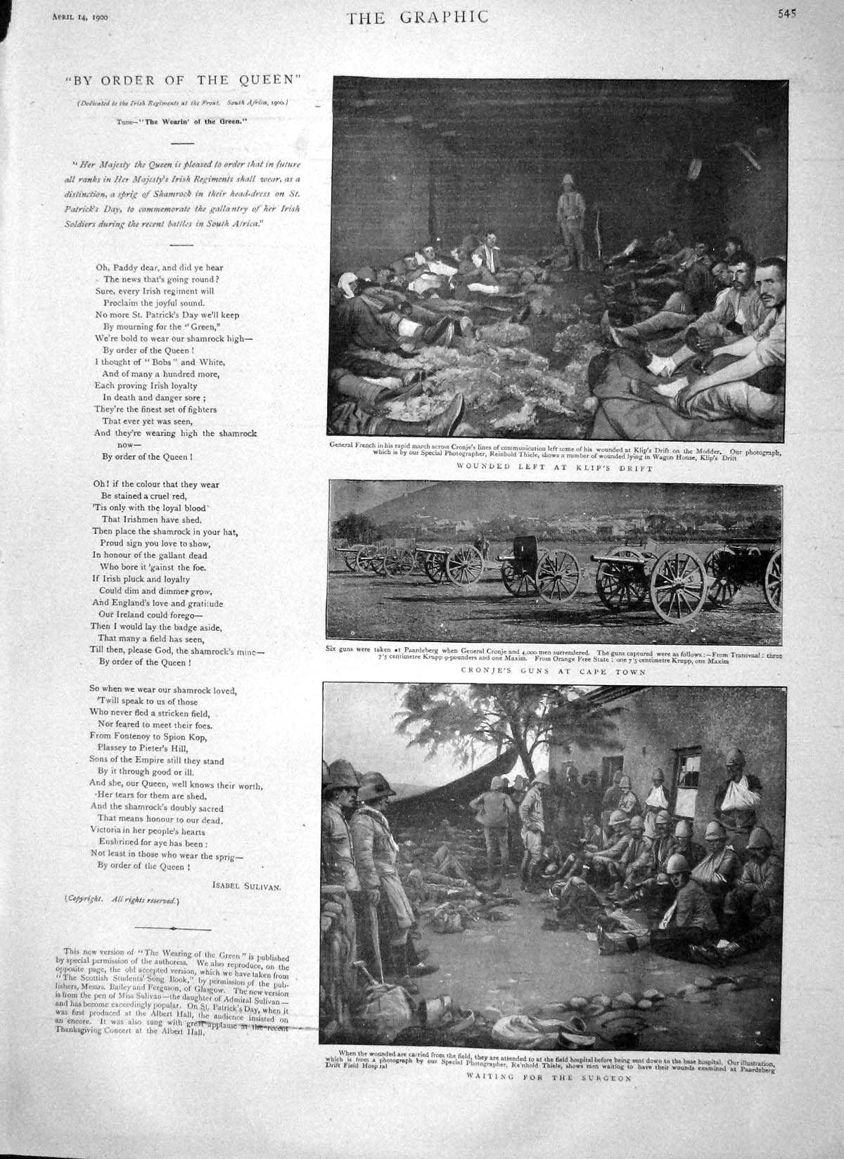[Print 1900 Cronje Guns Cape Africa Klip War Hodgson Curry Men 545M161 Old Original]