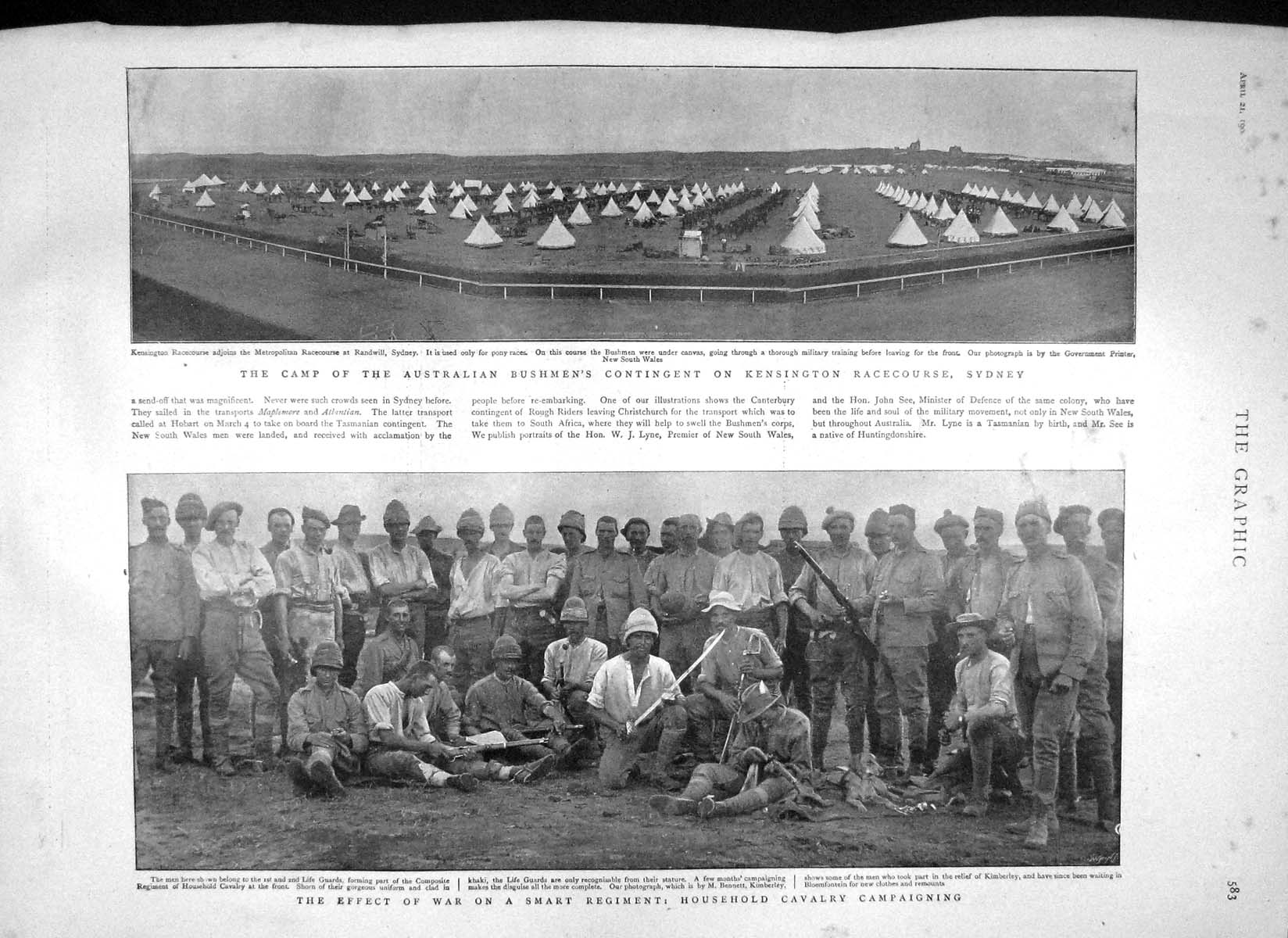 [Print 1900 War Life Guards Kensington Racecourse Heart Tomb 583M161 Old Original]
