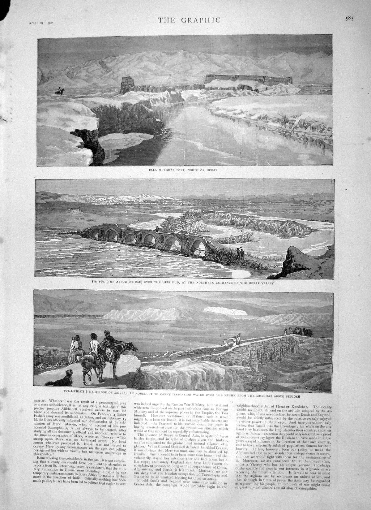[Print 1900 Murghab Fort Heart Penjdeh Alfred Picard War Map 585M161 Old Original]