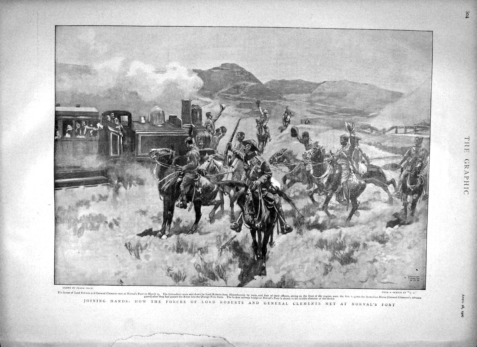 [Print 1900 Lord Roberts General Clements Borval'S Pont War 604M161 Old Original]