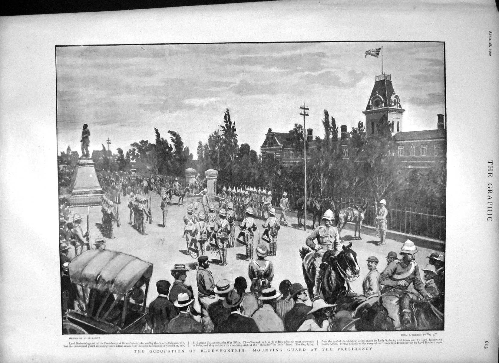 [Print 1900 Bloemfontein Lord Roberts War Powerful Ladysmith 613M161 Old Original]