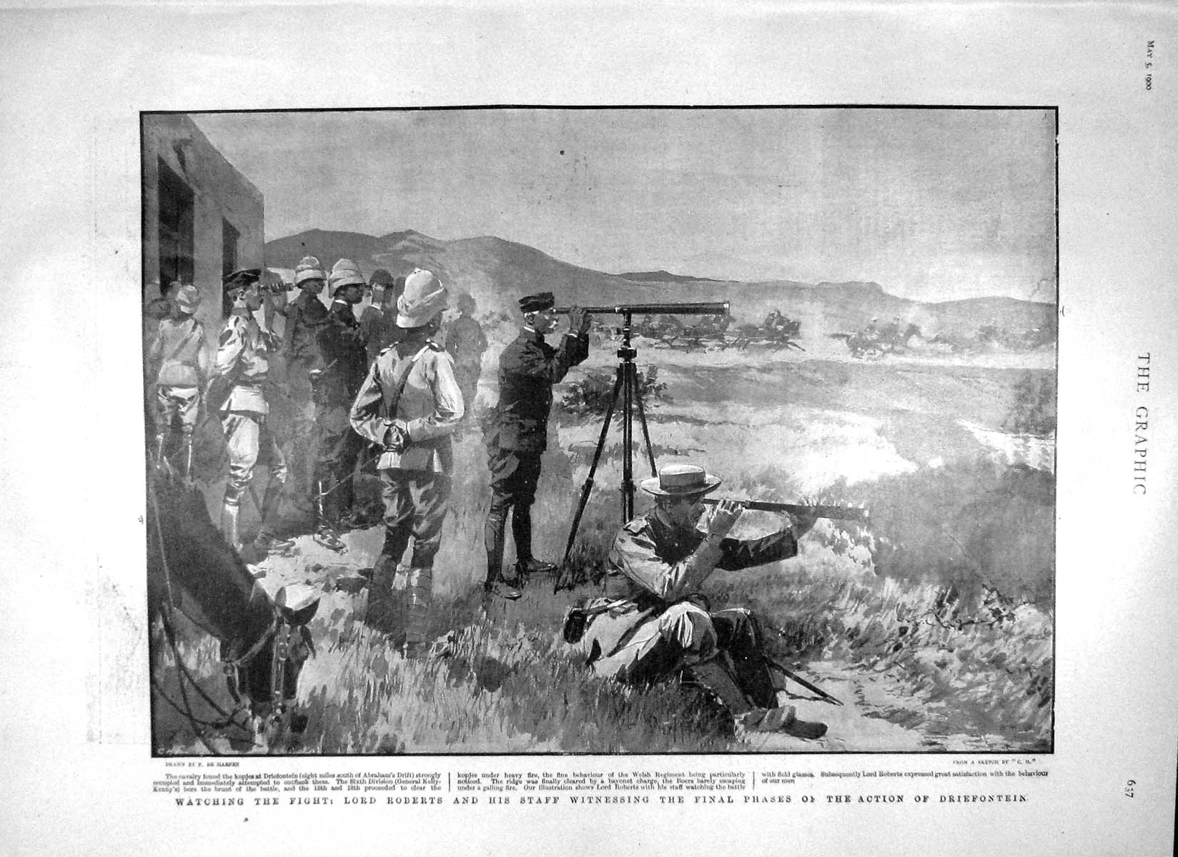 [Print 1900 Lord Roberts Action Driefontein General Kelly War 637M161 Old Original]