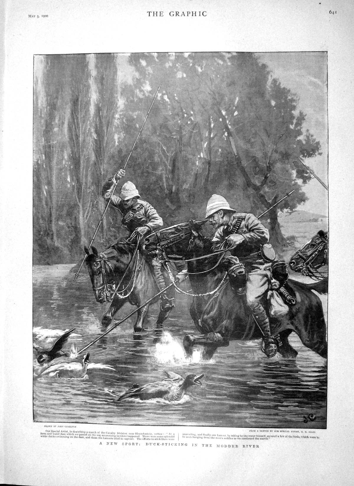 [Print 1900 Duck Sticking Modder River Sport Magersfontein War 641M161 Old Original]