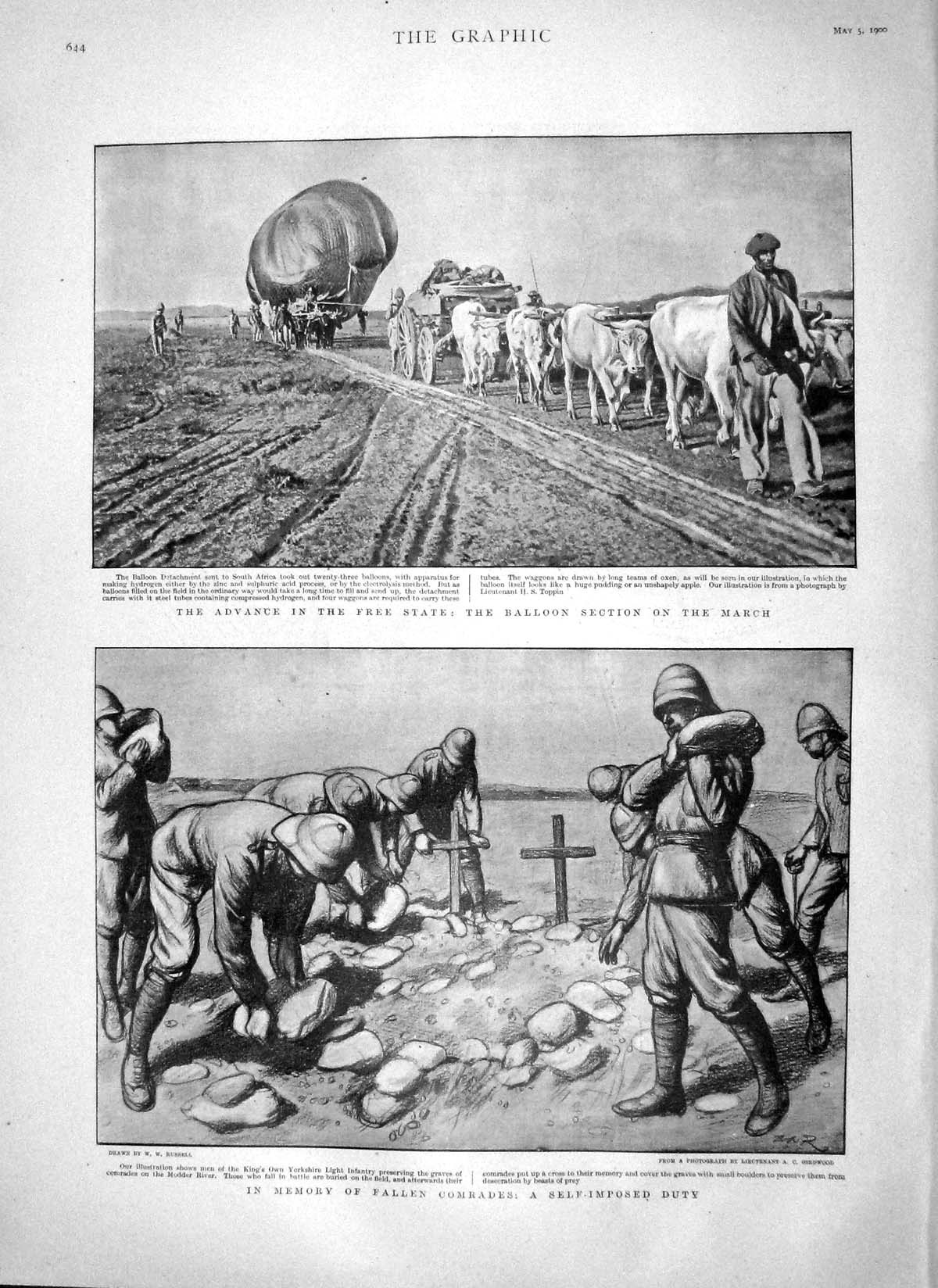 [Print 1900 Balloon Africa War Soldiers Modder Boer Plan Fight 644M161 Old Original]