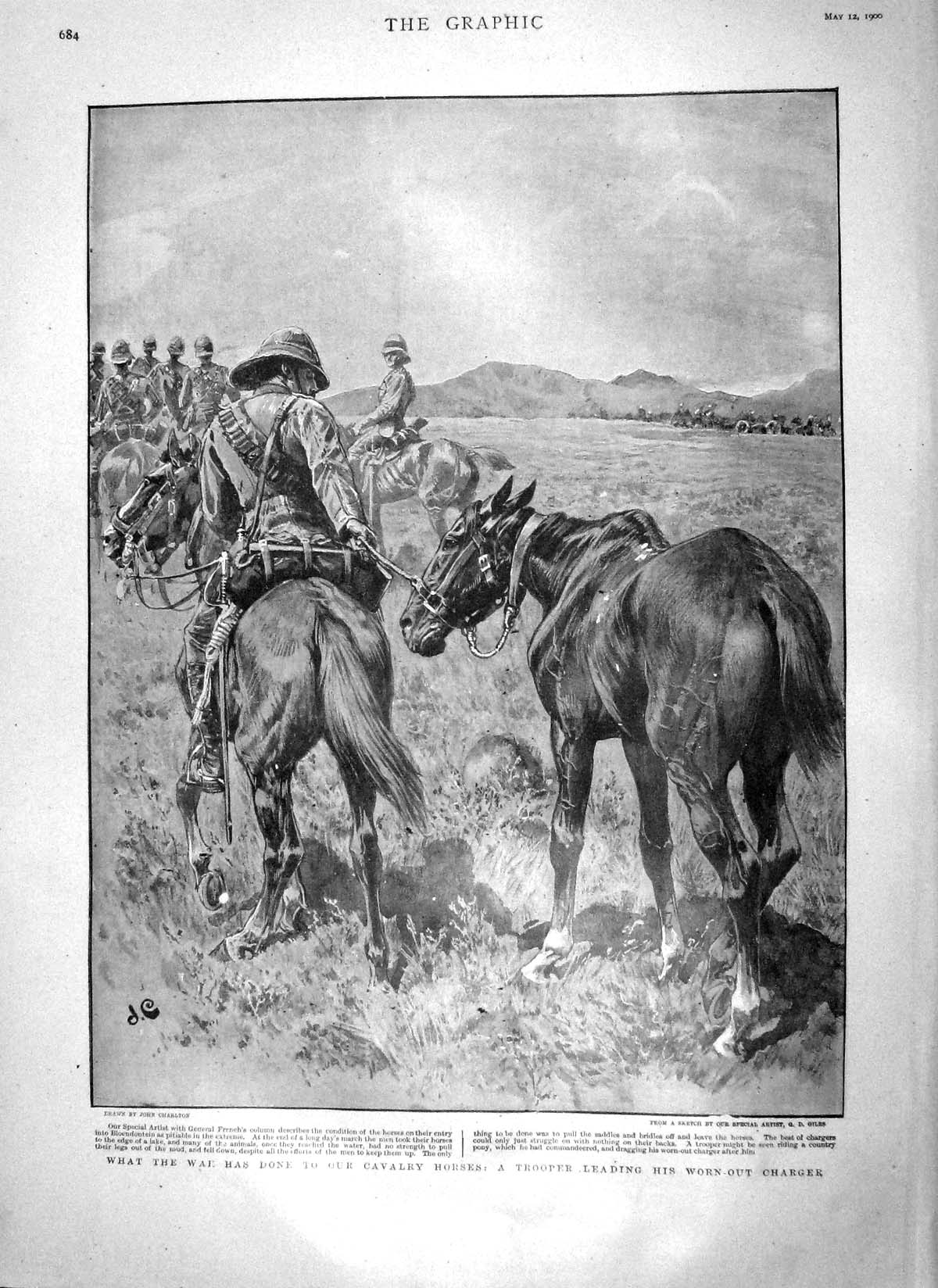 [Print 1900 War Trooper Cavalry Horses French Lloyds Dinner 684M161 Old Original]