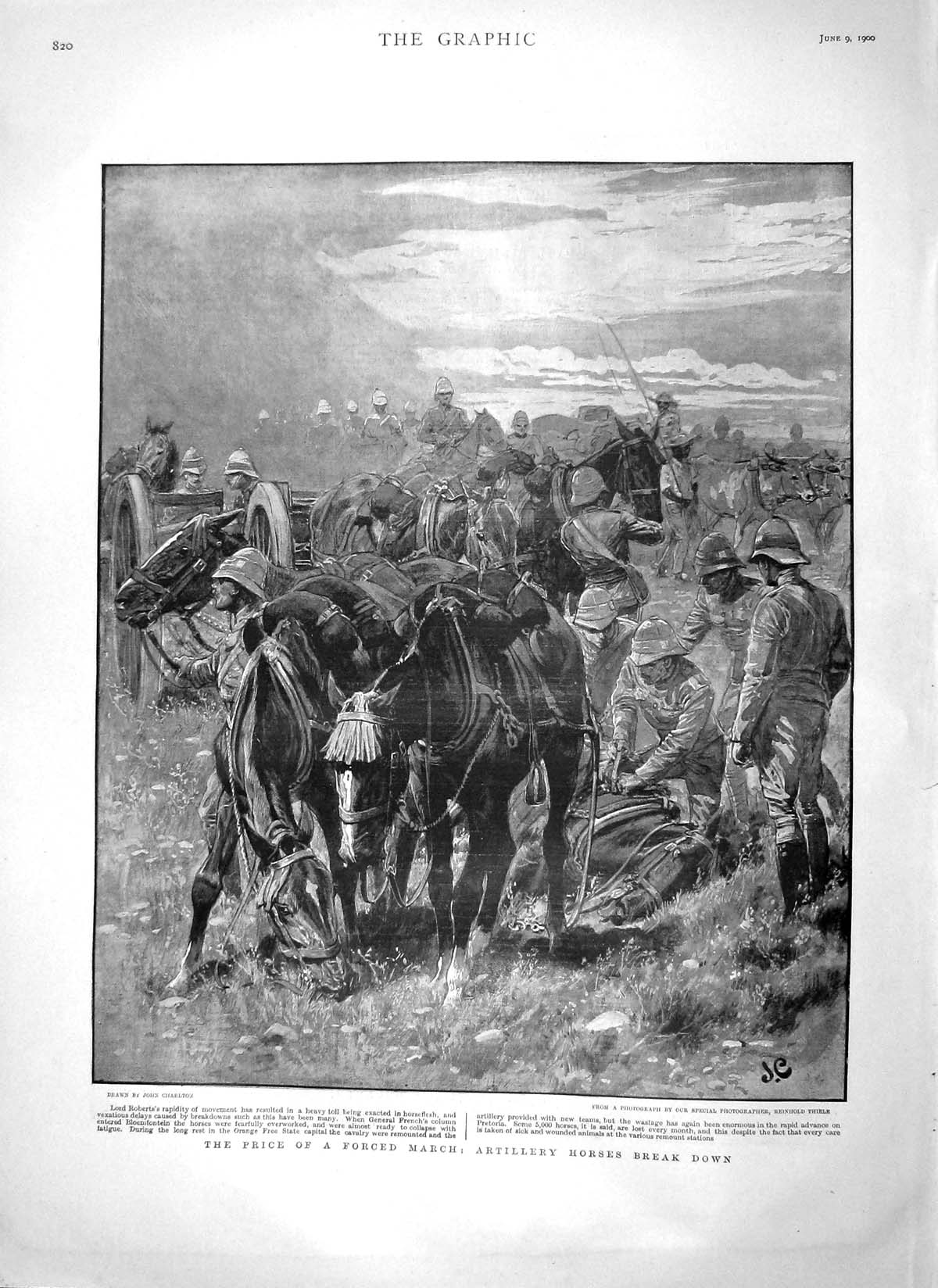 [Print 1900 Artillery Horses Lord Roberts General French War 820M161 Old Original]