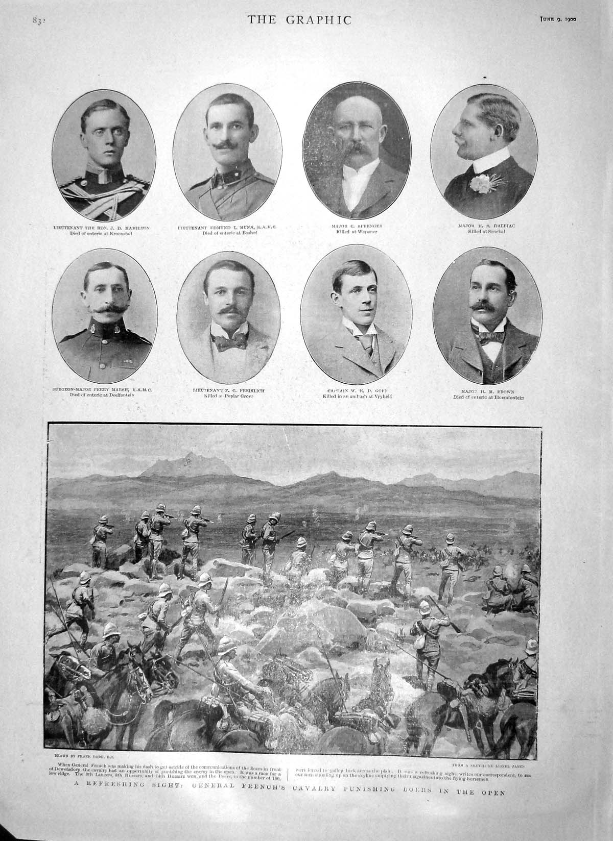 [Print 1900 General French Boers War Munn Marsh Prince Wales 832M161 Old Original]