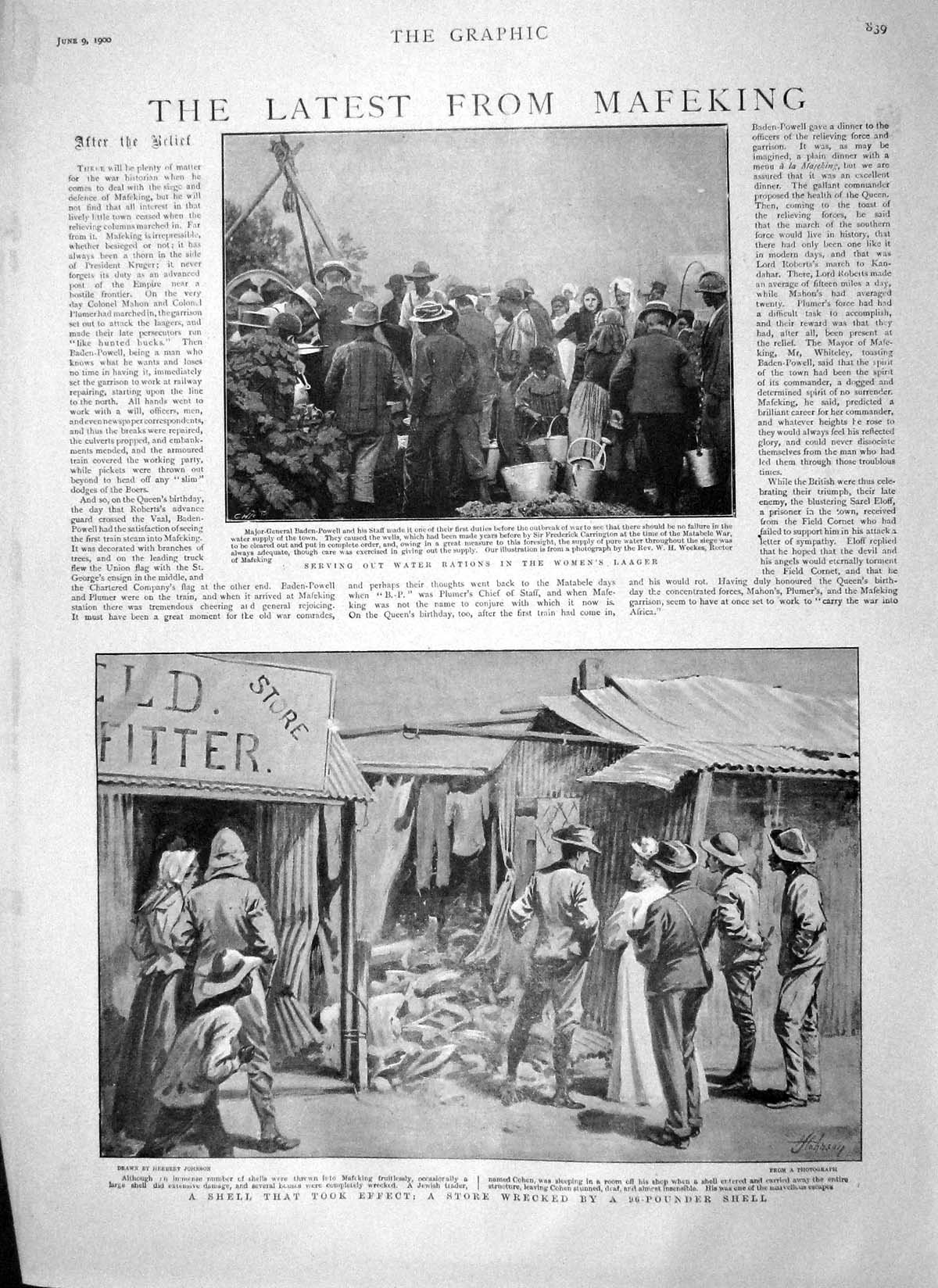[Print 1900 Mafeking War Women'S Laager Baralong Natives Stadt 839M161 Old Original]