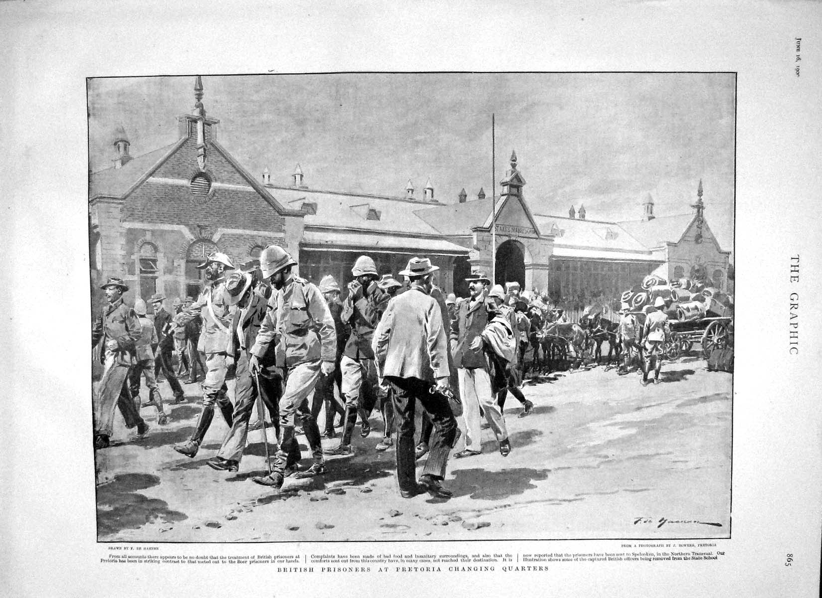 [Print 1900 British Prisoners Pretoria War Changing Quarters 865M161 Old Original]