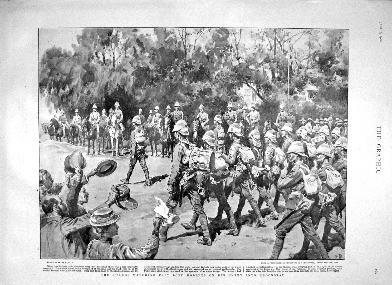 [Print 1900 Lord Roberts Kroonstad War Soldiers Mafeking Boer 867M161 Old Original]