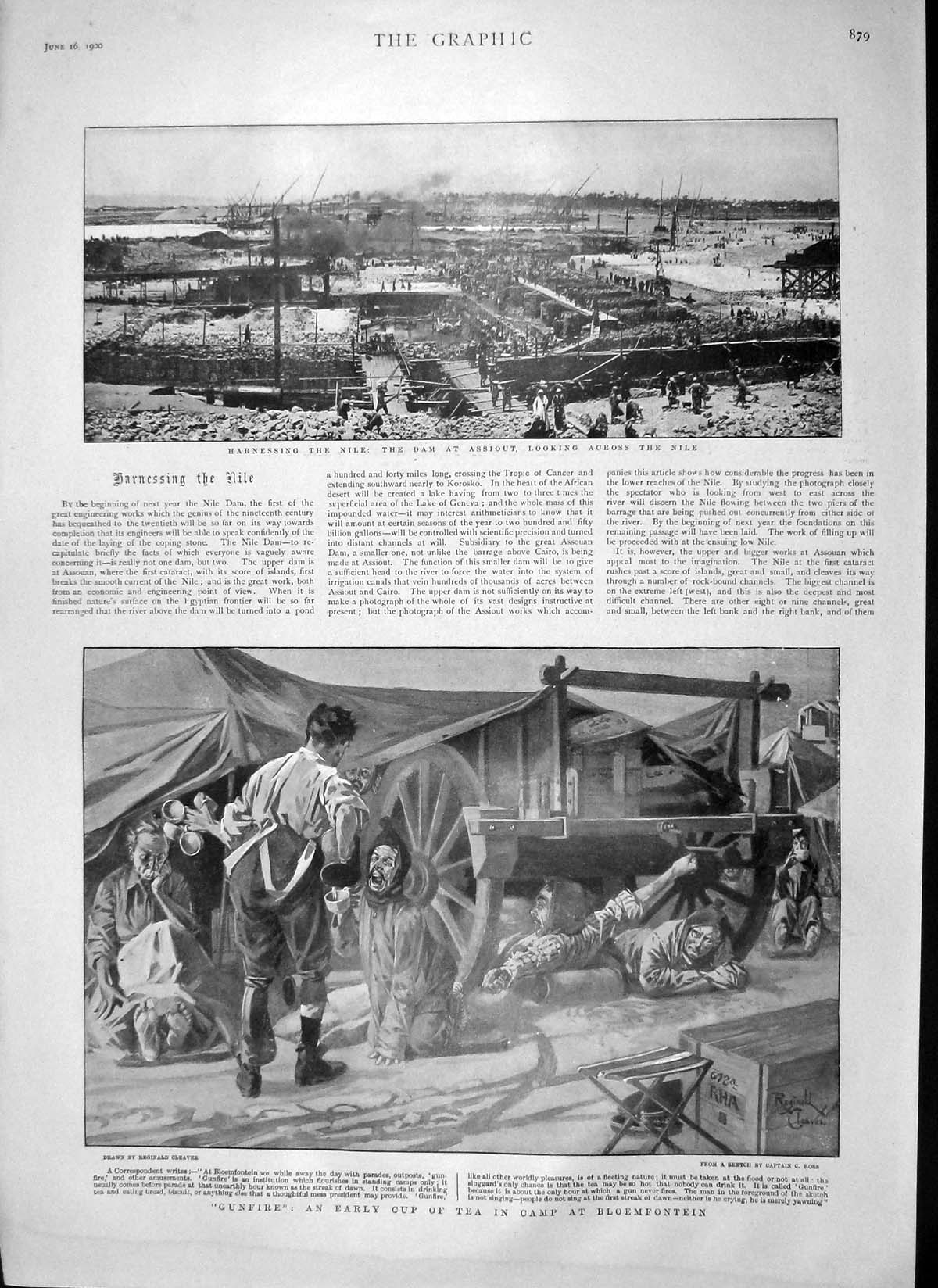 [Print 1900 Dam Assiout River Nile Bloemfontein Ladysmith War 879M161 Old Original]