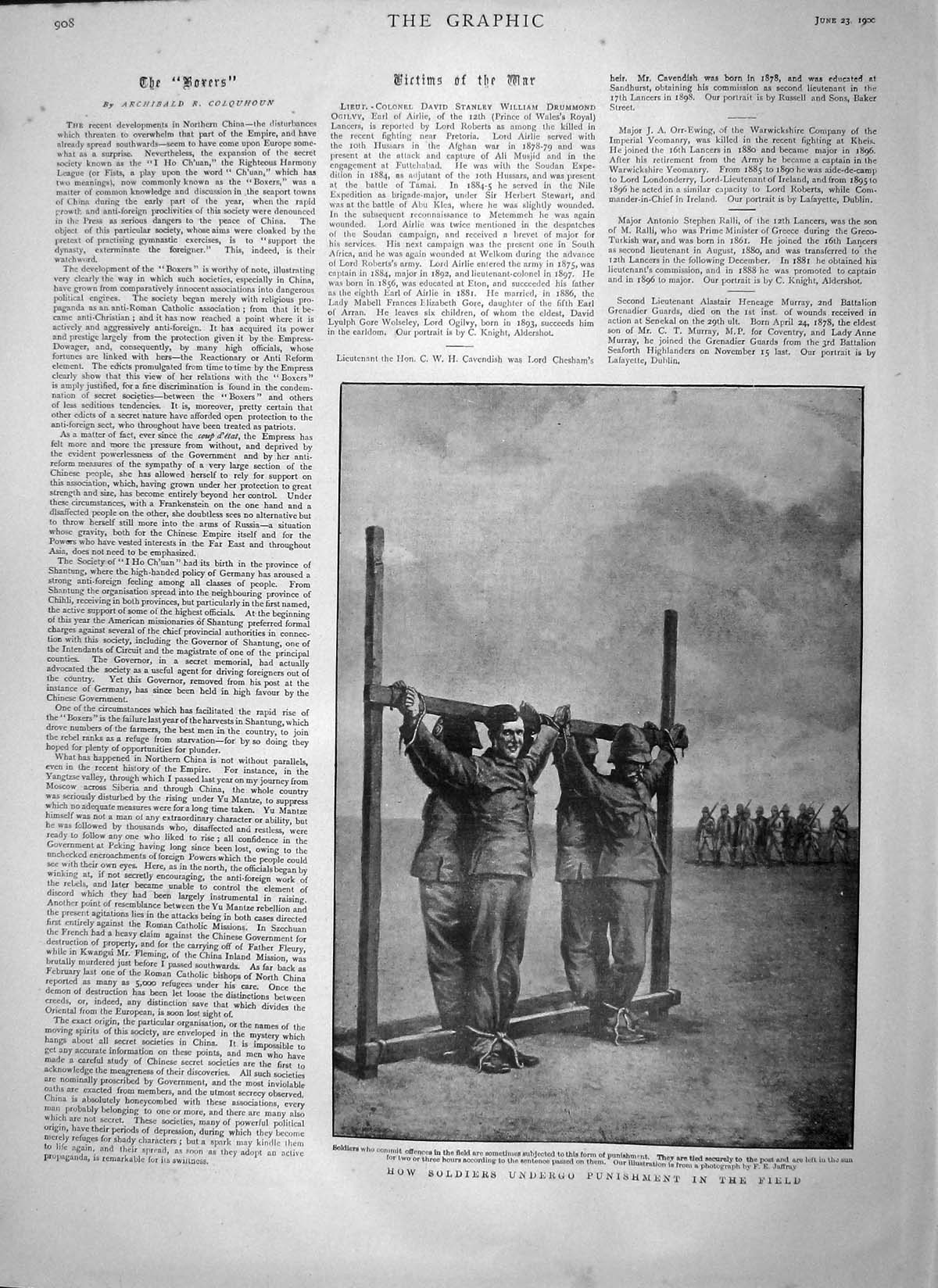 [Print 1900 Soldiers Punishment Battle Field War Tied Post 908M161 Old Original]
