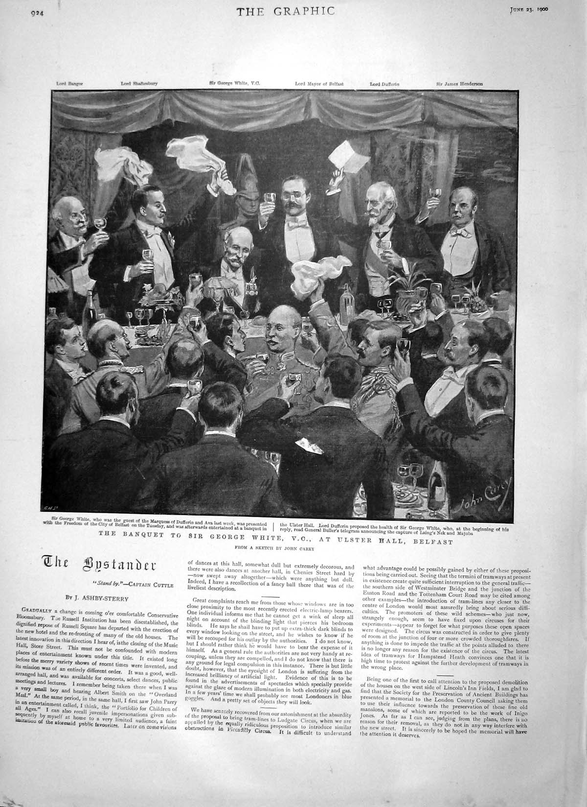 [Print 1900 Banquet Sir George White Ulster Hall Belfast 924M161 Old Original]