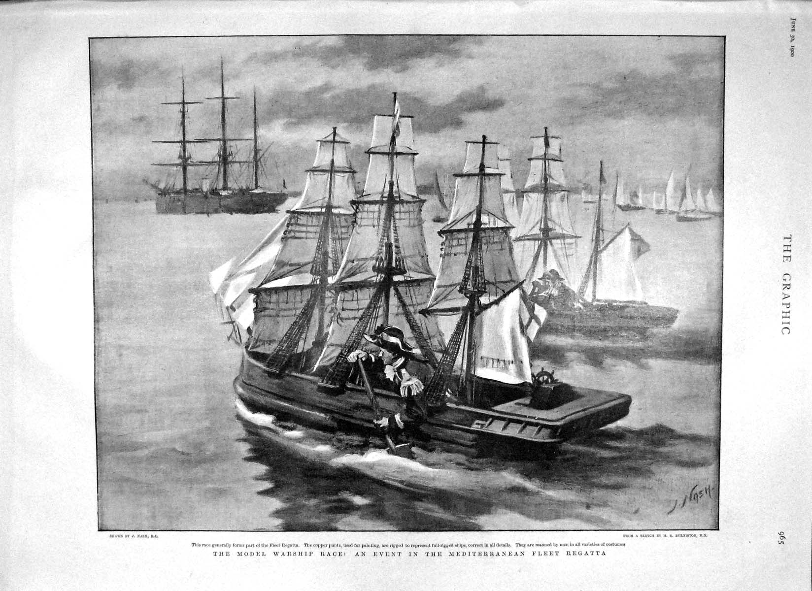 [Print 1900 Model Warship Race Mediterranean London Railway 965M161 Old Original]