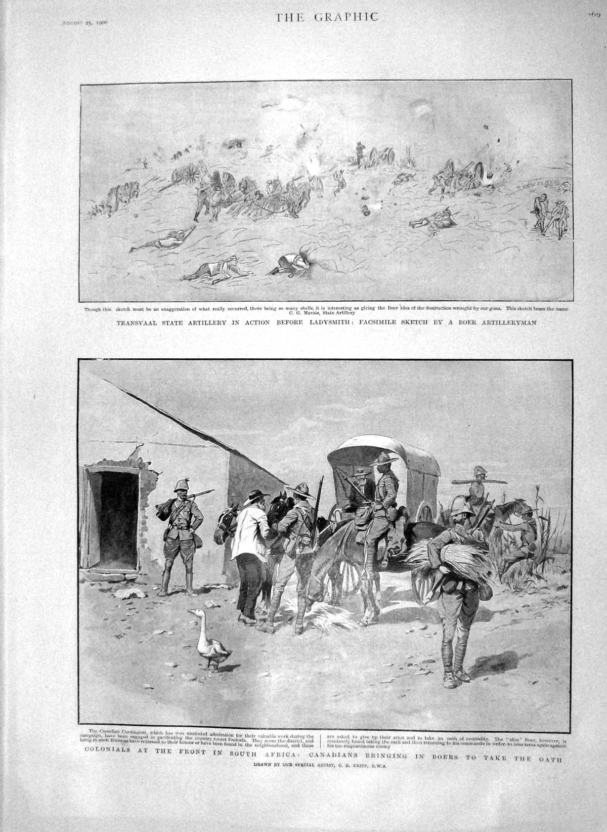 [Print 1900 Transvaal Artillery Ladysmith Boer Africa Canadian 269M162 Old Original]