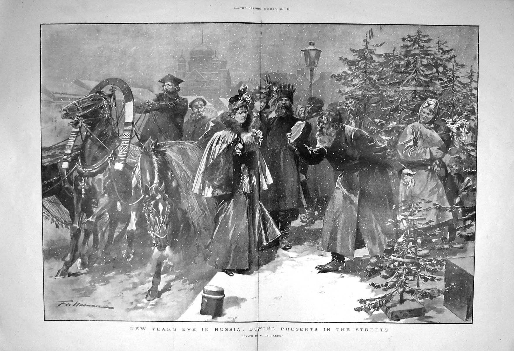 [Print 1901 New Year'S Eve Russia Street Scene Buying Presents 019Tm163 Old Original]