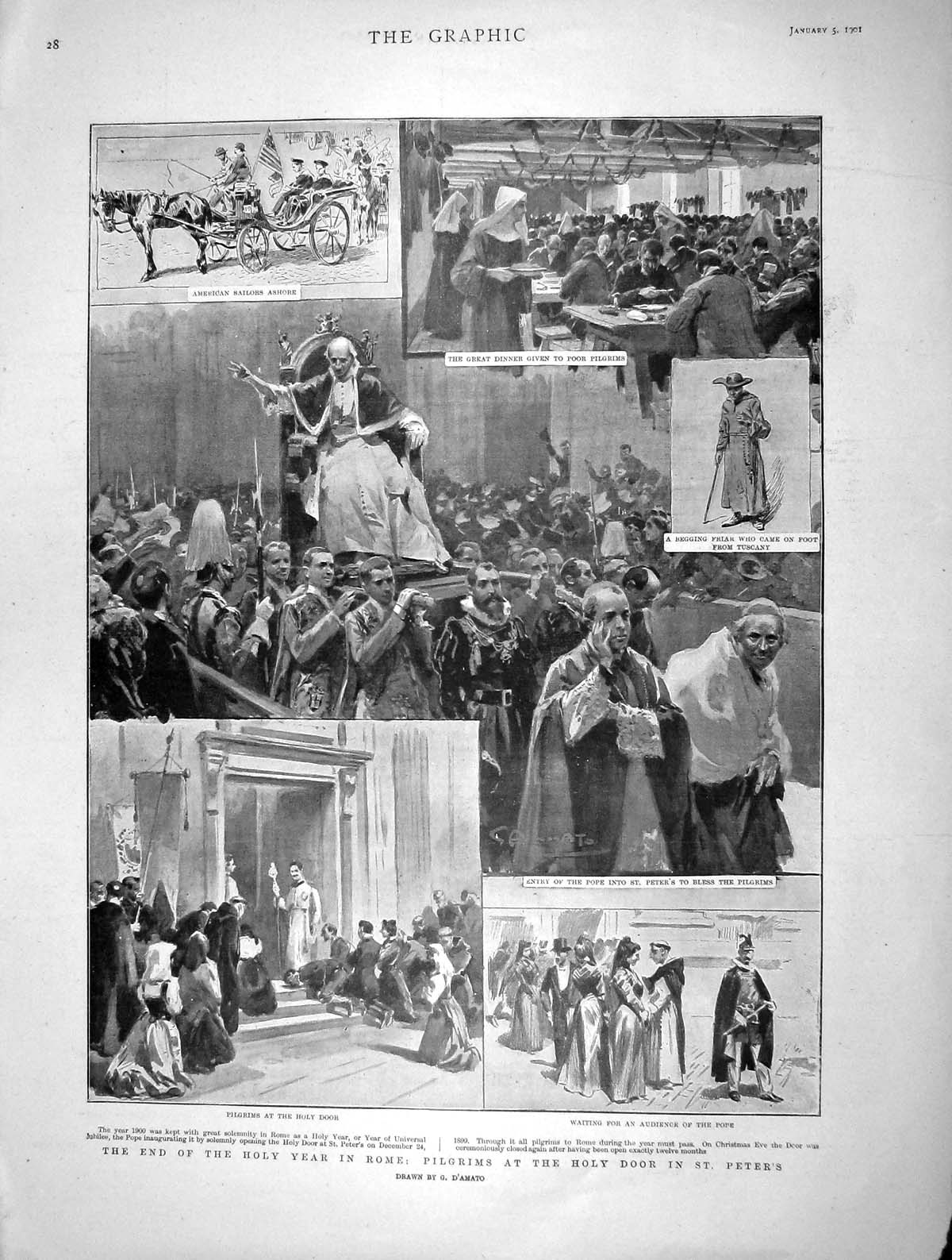 [Print 1901 Holy Year Rome Pilgrims St. Peters Pope Friar 028M163 Old Original]