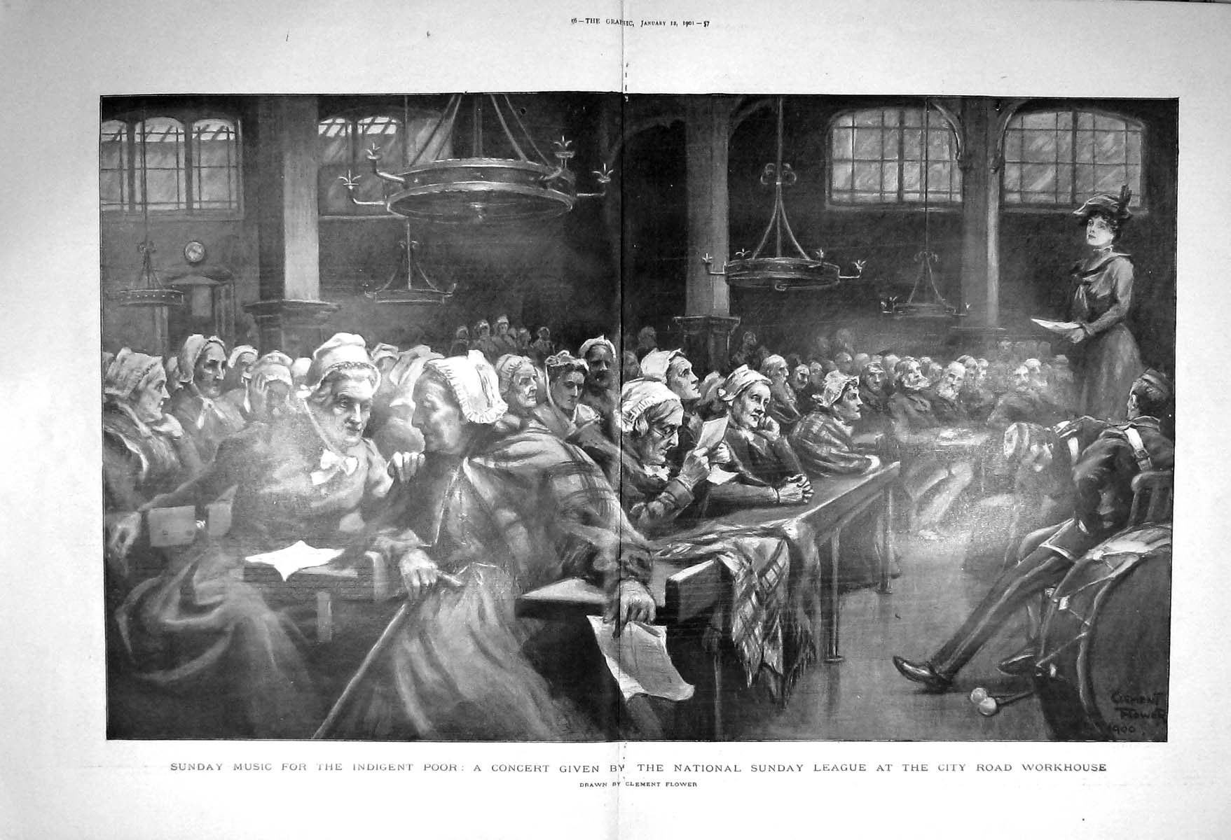 [Print 1901 Music Concert Sunday League City Road Workhouse 055Tm163 Old Original]