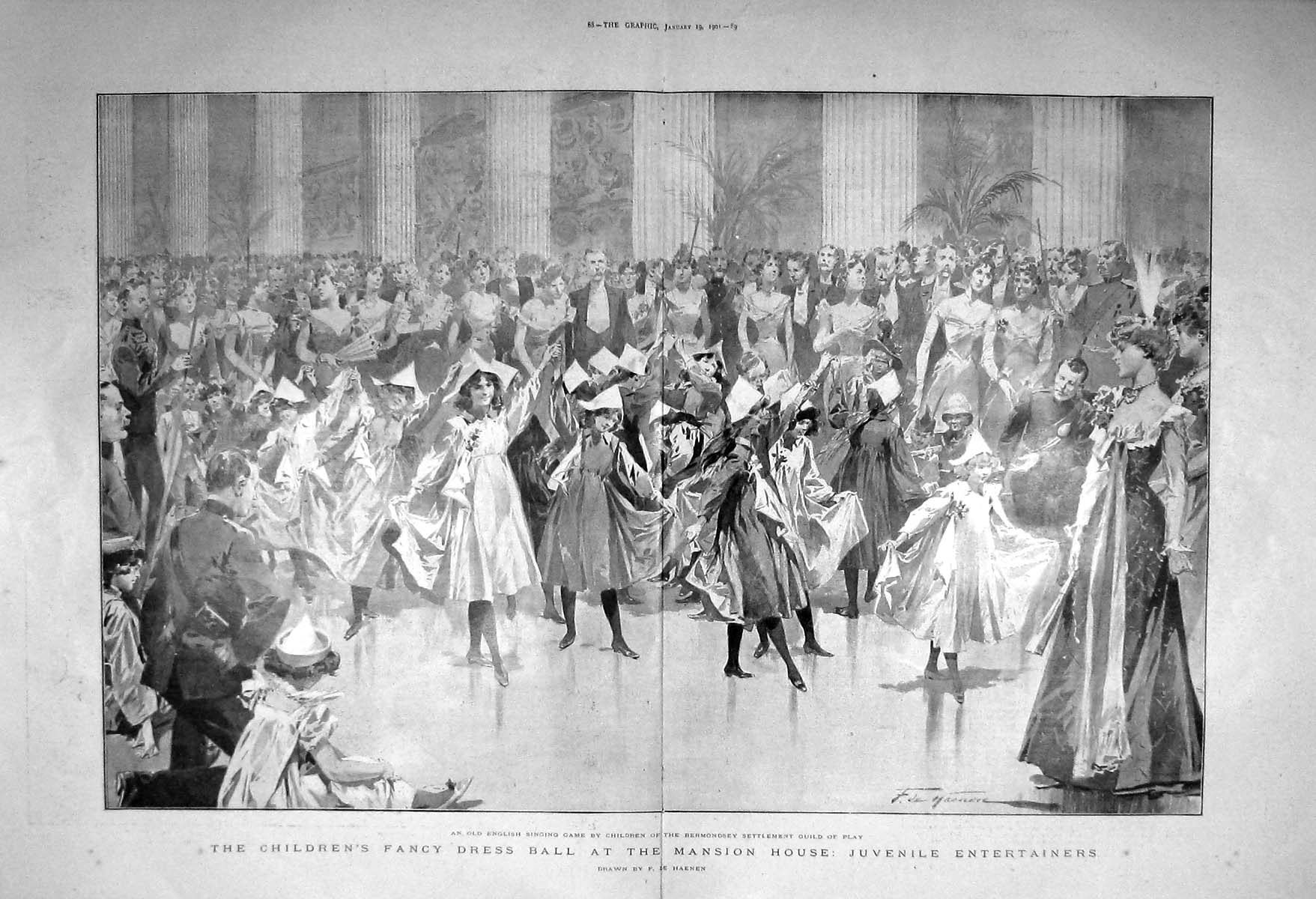 [Print 1901 Children Fancy Dress Ball Mansion House Bermondsey 087Tm163 Old Original]