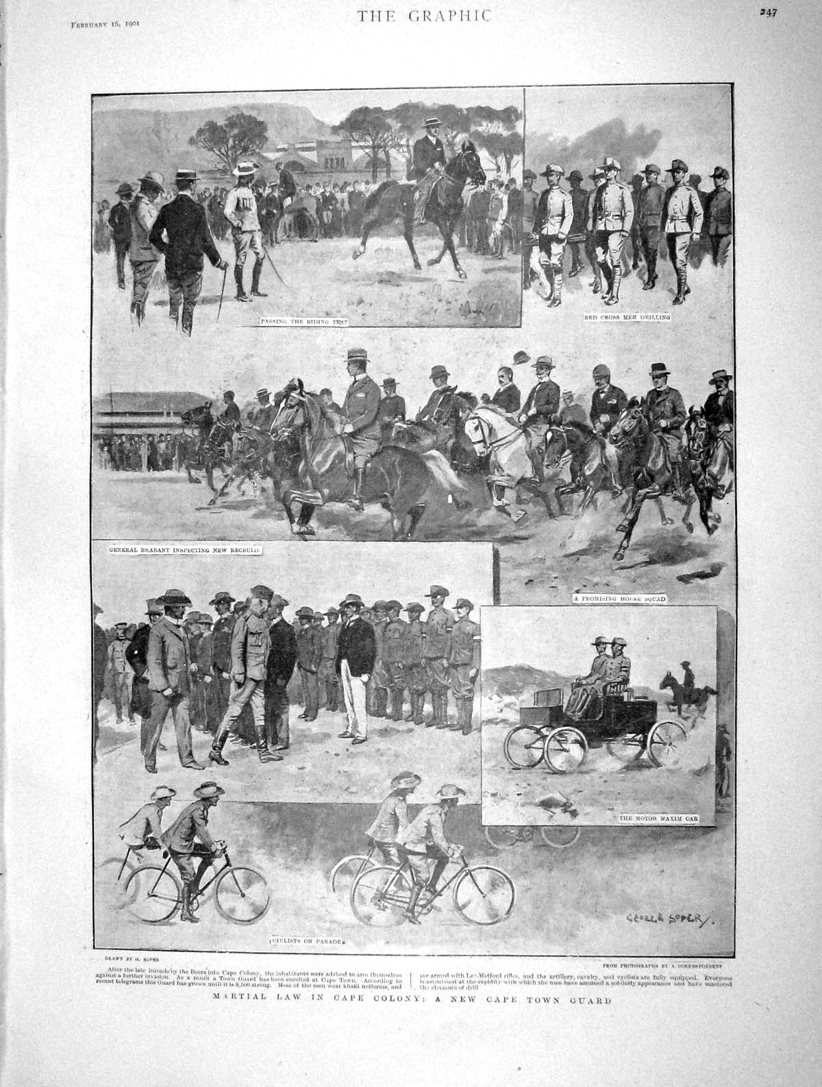 [Print 1901 Cape Town Guard Colony Africa Boers China War 247M163 Old Original]
