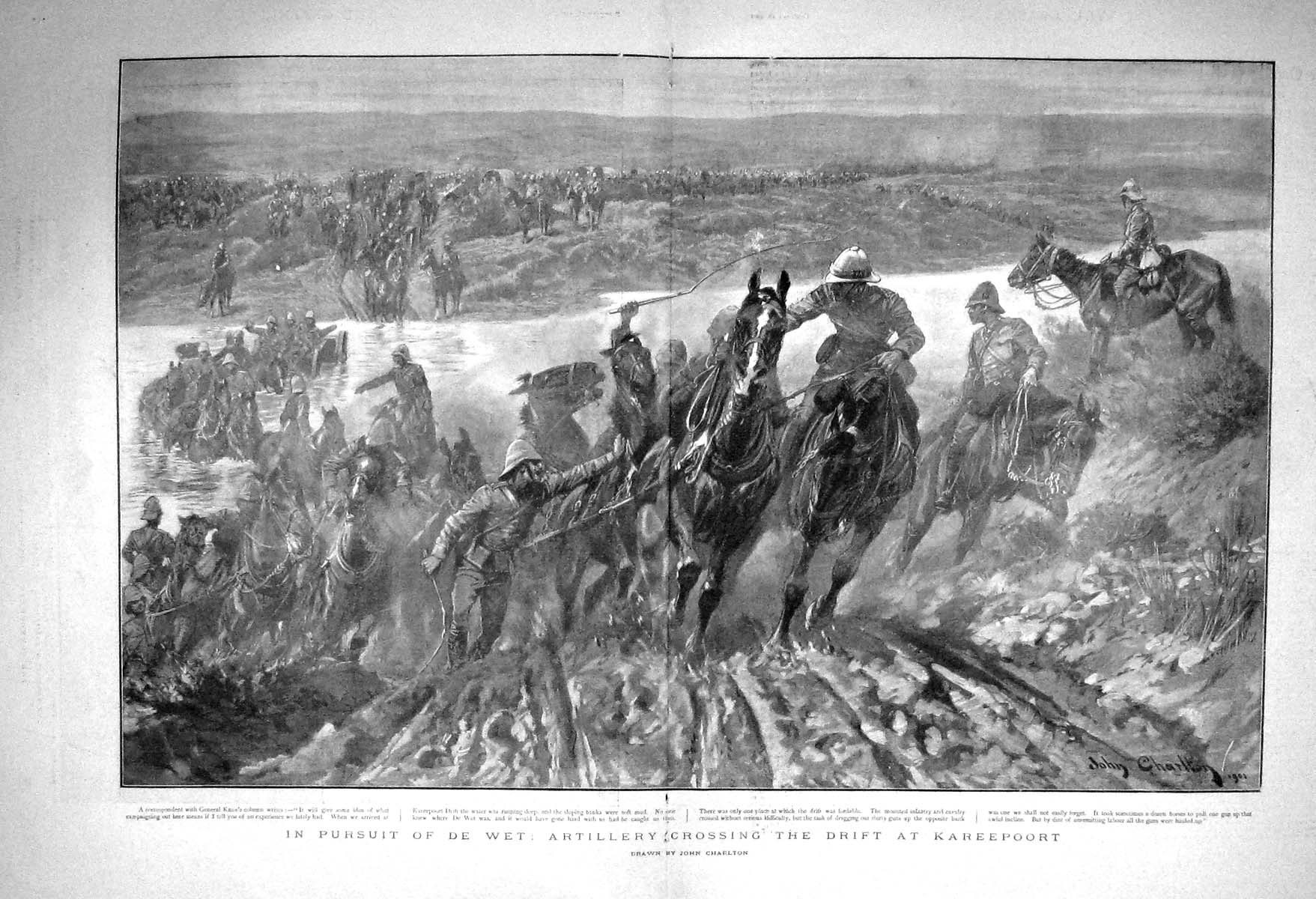 [Print 1901 Artillery Horses Crossing Drift Kareepoort War 255Tm163 Old Original]