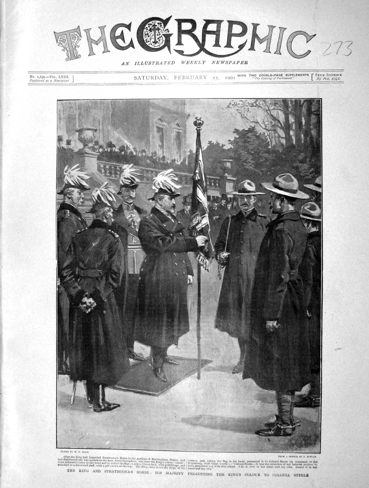 [Print 1901 King England Strathcona Colonel Steel Buckingham 273M163 Old Original]