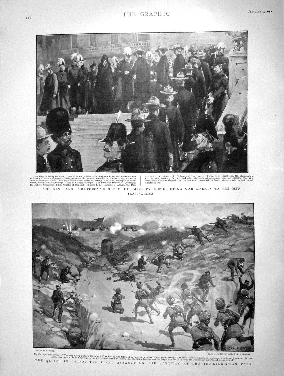 [Print 1901 King Strathcona War Medals China Tsu-King-Kwan  Old Original]