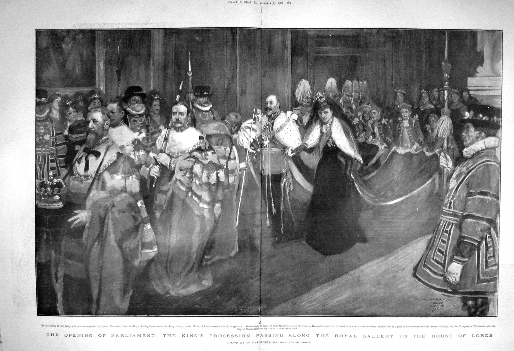 [Print 1901 Parliament King'S Procession Gallery House Lords 287Tm163 Old Original]