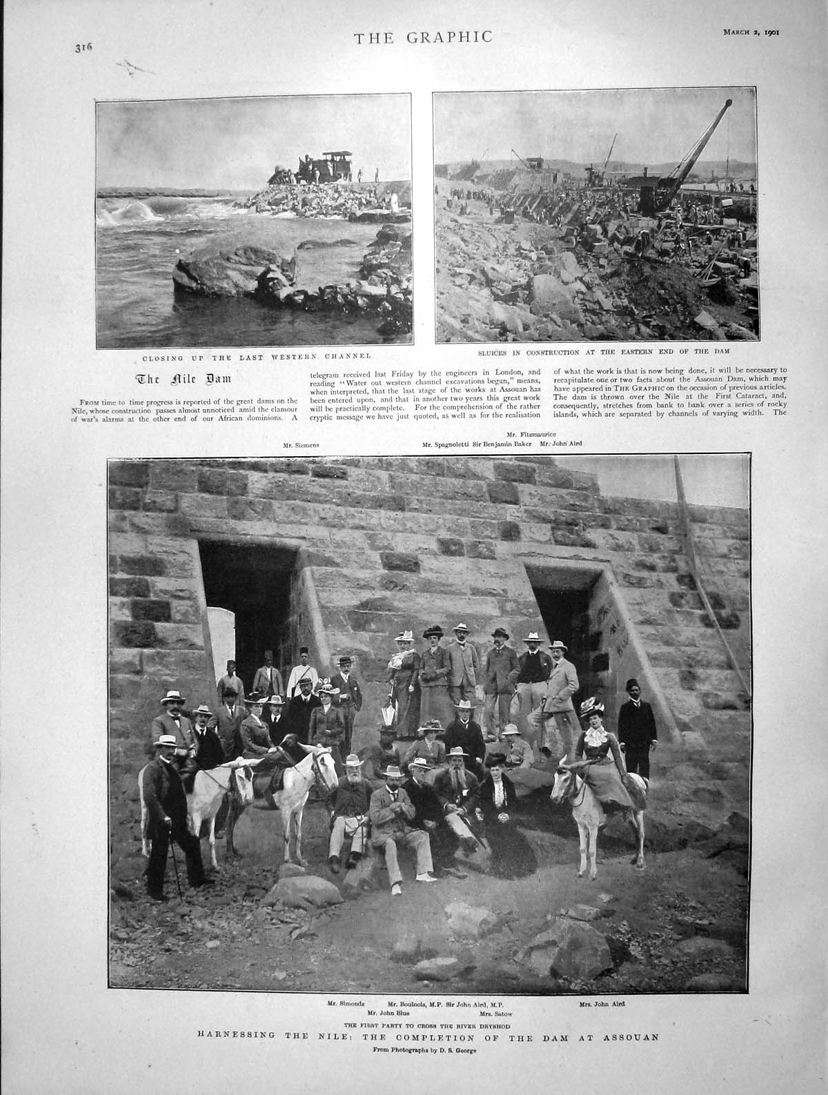 [Print 1901 River Nile Dam Assouan Aird Satow Blue Simonds 316M163 Old Original]