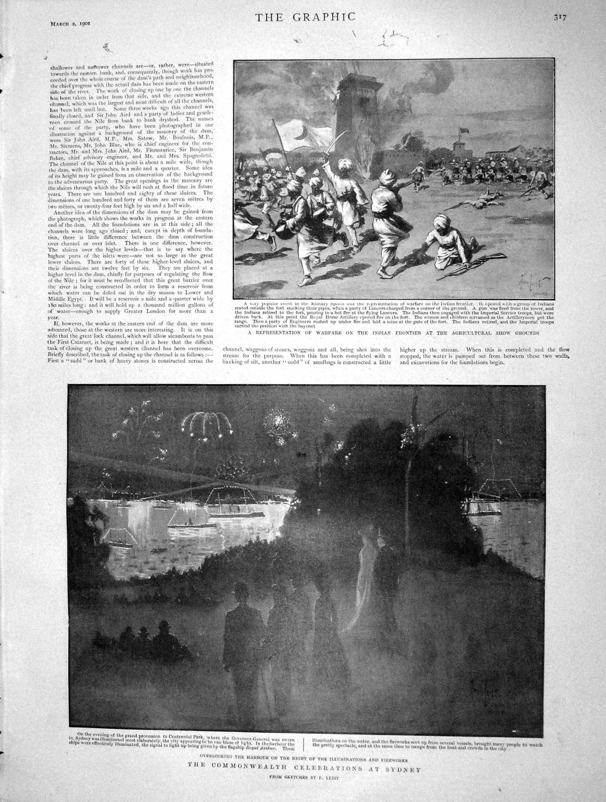 [Print 1901 Warfare India Frontier Commonwealth Sydney Harbour 317M163 Old Original]