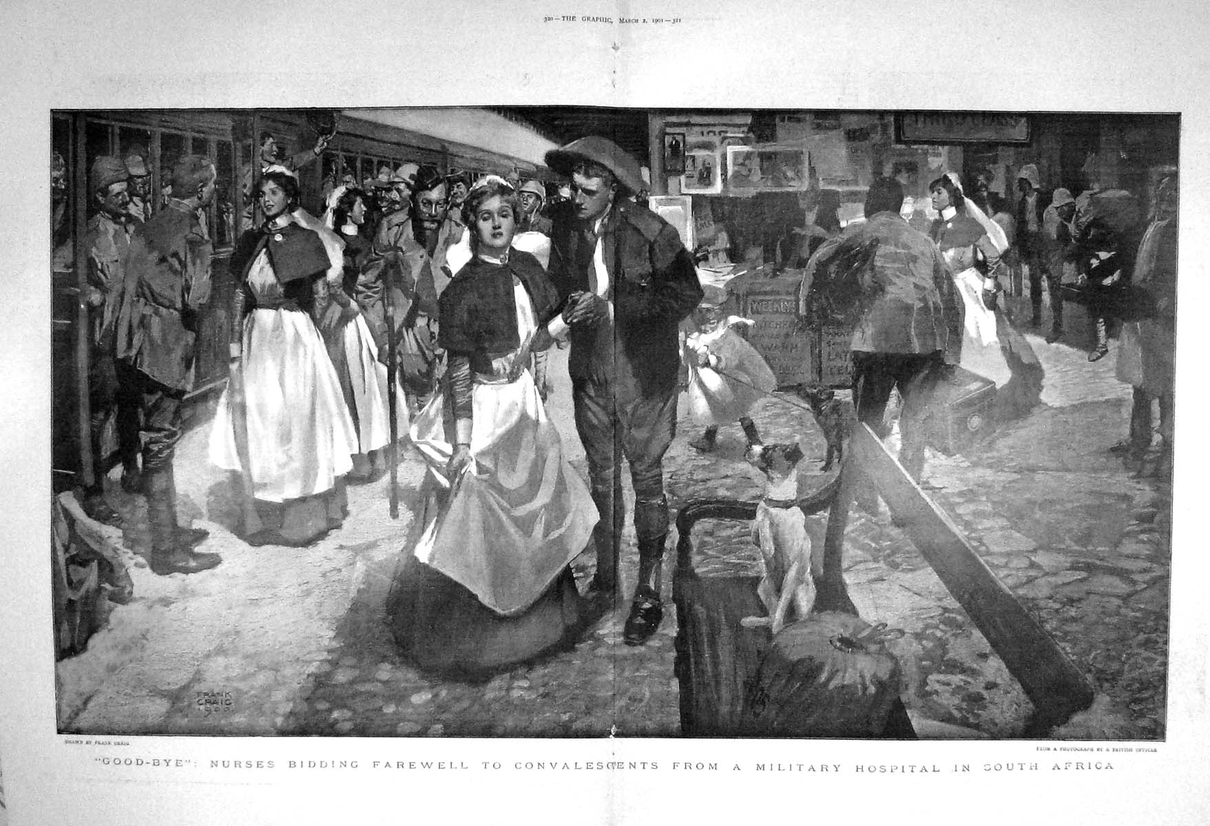 [Print 1901 Nurses Farewell Military Hospital War South Africa Old Original]