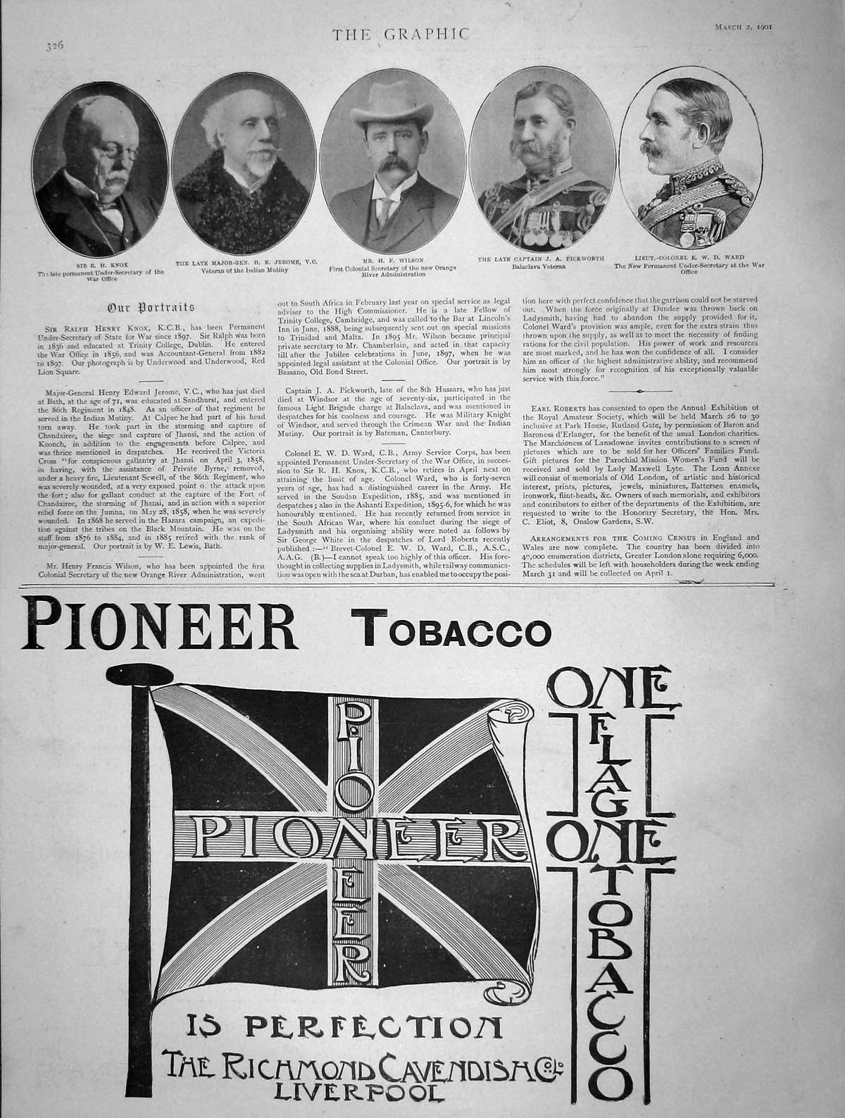 [Print 1901 Knox Jerome Wilson Pickworth Ward Pioneer Tobacco 326M163 Old Original]