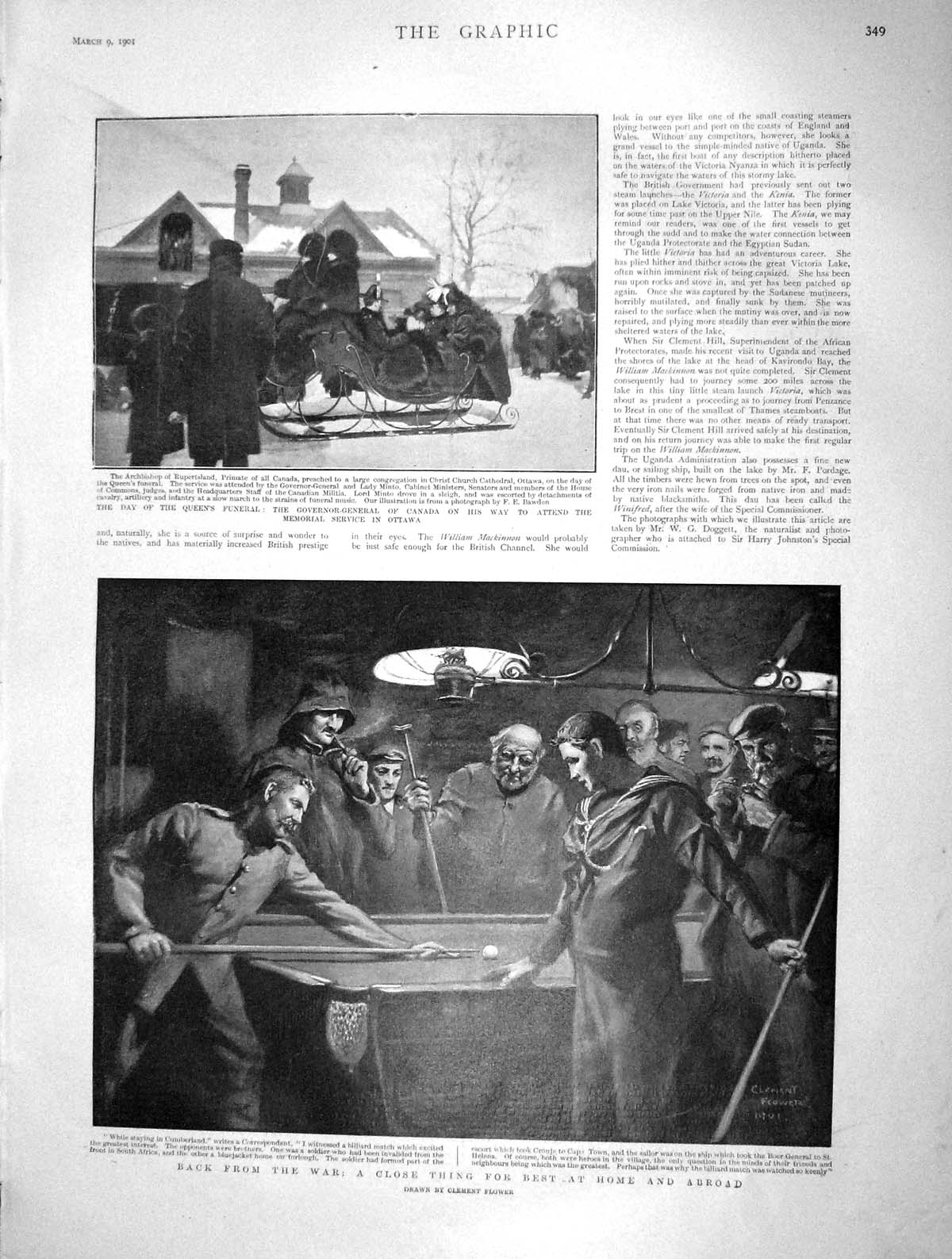 [Print 1901 Queen Funeral Canada Ottawa War Soldiers Pool Game 349M163 Old Original]