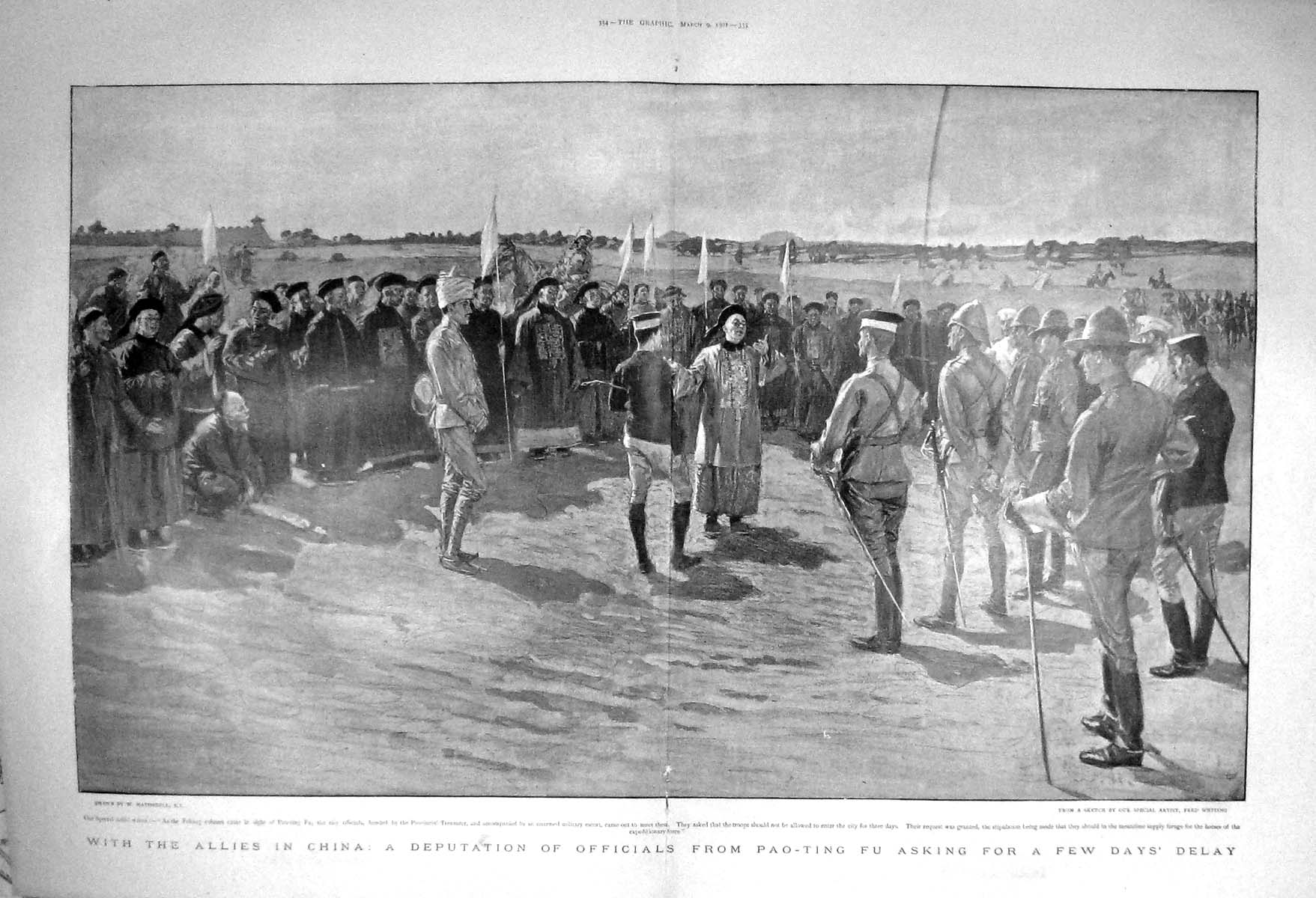 [Print 1901 Allies China Officials Pao-Ting Fu Peking War Army  Old Original]