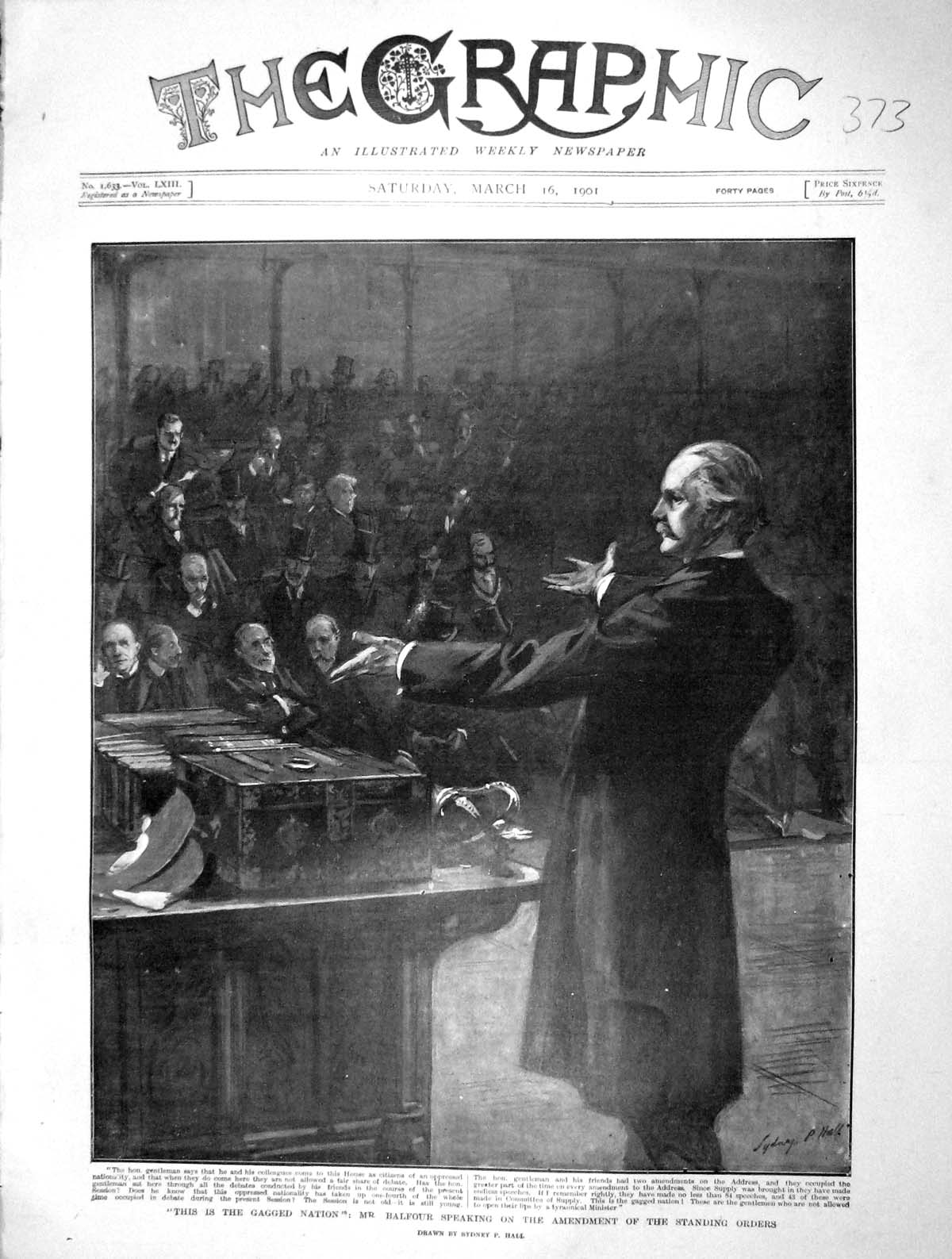 [Print 1901 Balfour House Commons Amendment Standing Orders 373M163 Old Original]