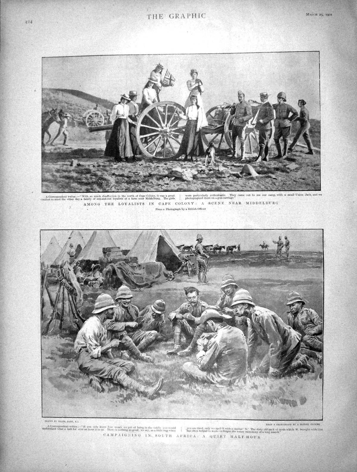 [Print 1901 Loyalists Cape Colony Middelburg Africa Soldiers 424M163 Old Original]