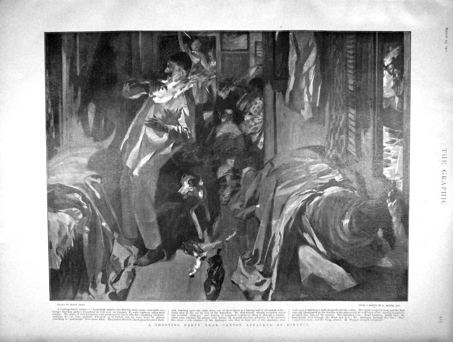[Print 1901 Scene Shooting Party Canton Attacked Pirates 425M163 Old Original]