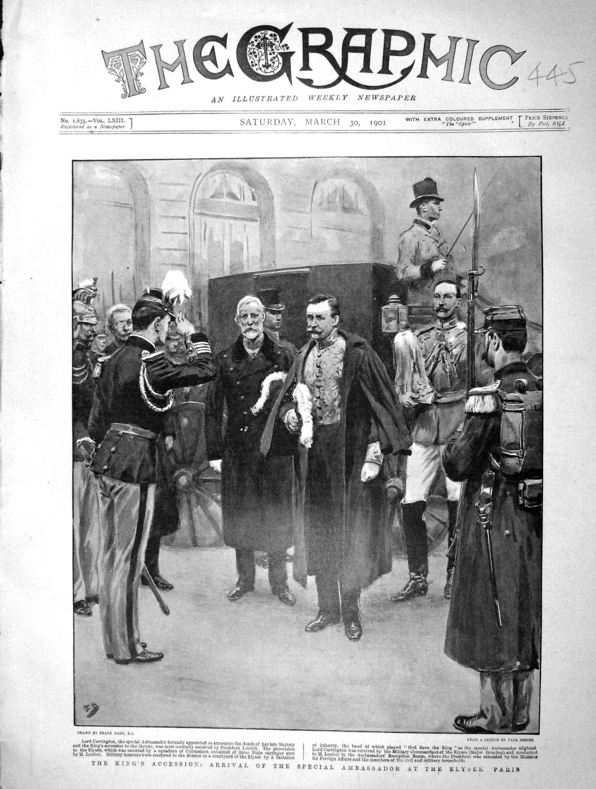 [Print 1901 Lord Carrington King'S Accession Elysee Paris 445M163 Old Original]