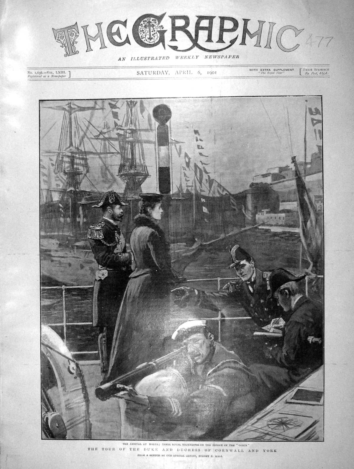 [Print 1901 Duke Cornwall York Bridge Ship Ophir Malta 477M163 Old Original]