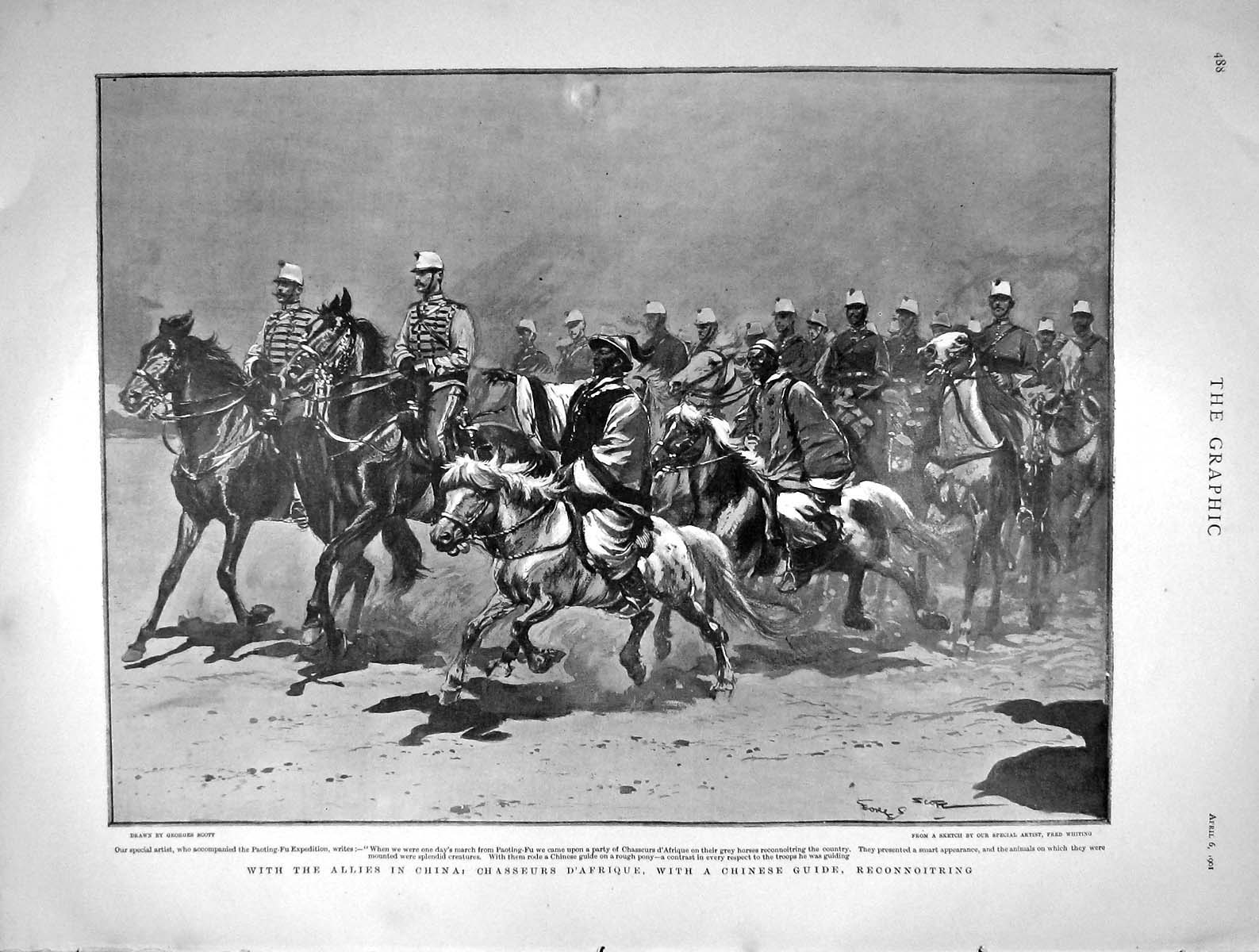 [Print 1901 British Army China Chasseurs D'Afrique Paoting-Fu 488M163 Old Original]