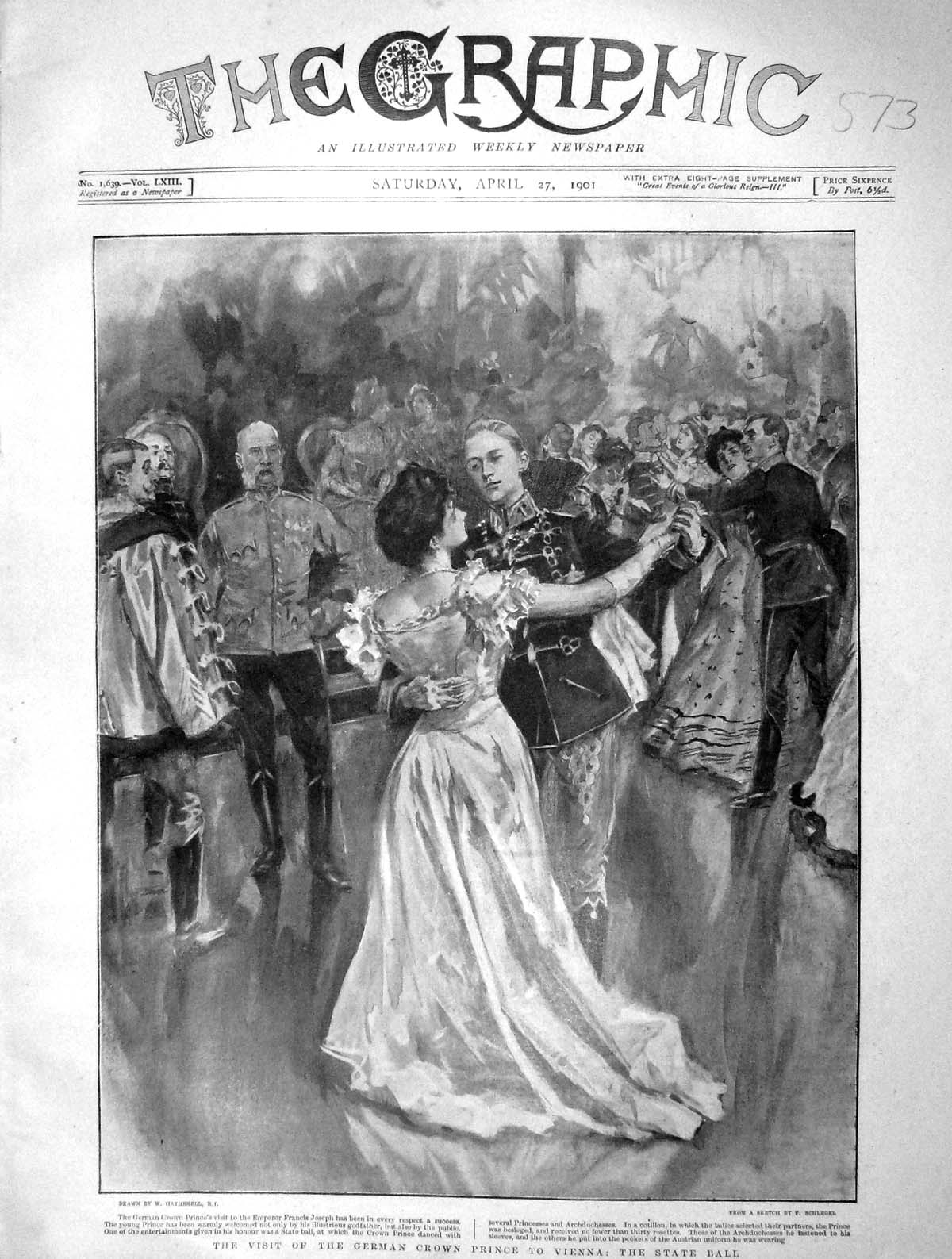 [Print 1901 German Crown Prince Vienna State Ball Joseph 573M163 Old Original]