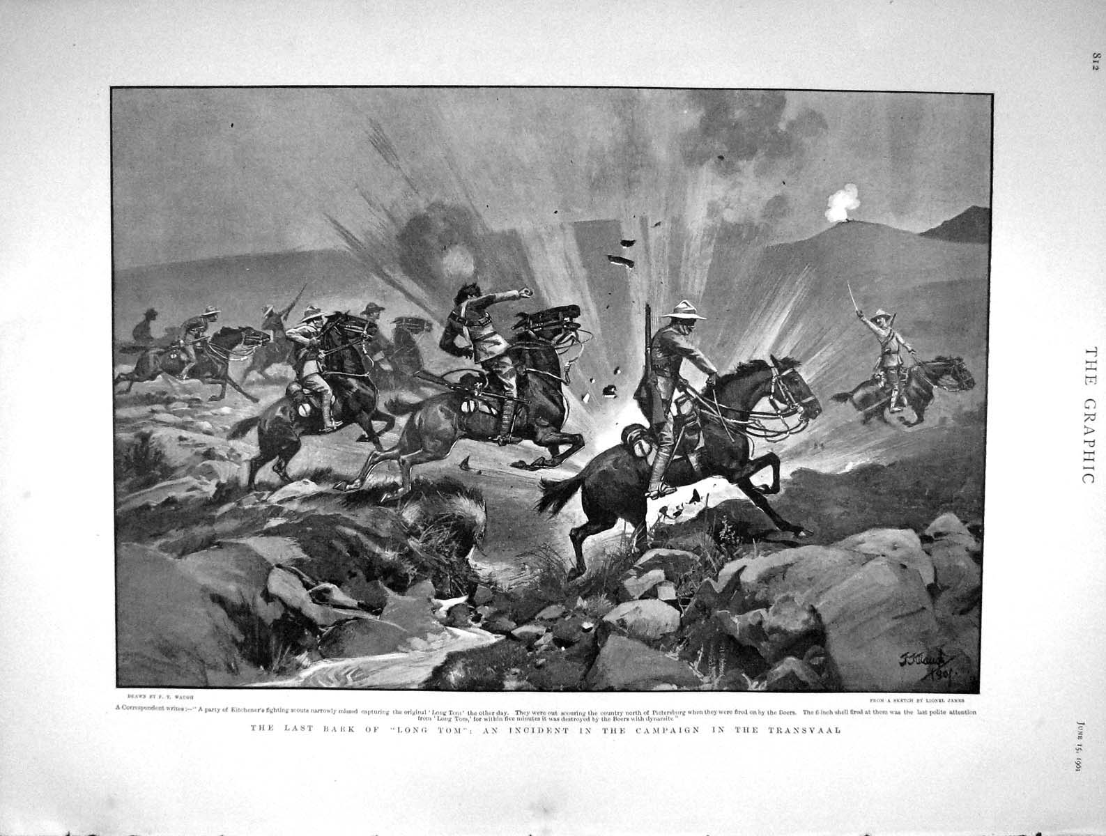 [Print 1901 Lord Kitchener Scouts Long Tom Transvaal War 812M163 Old Original]