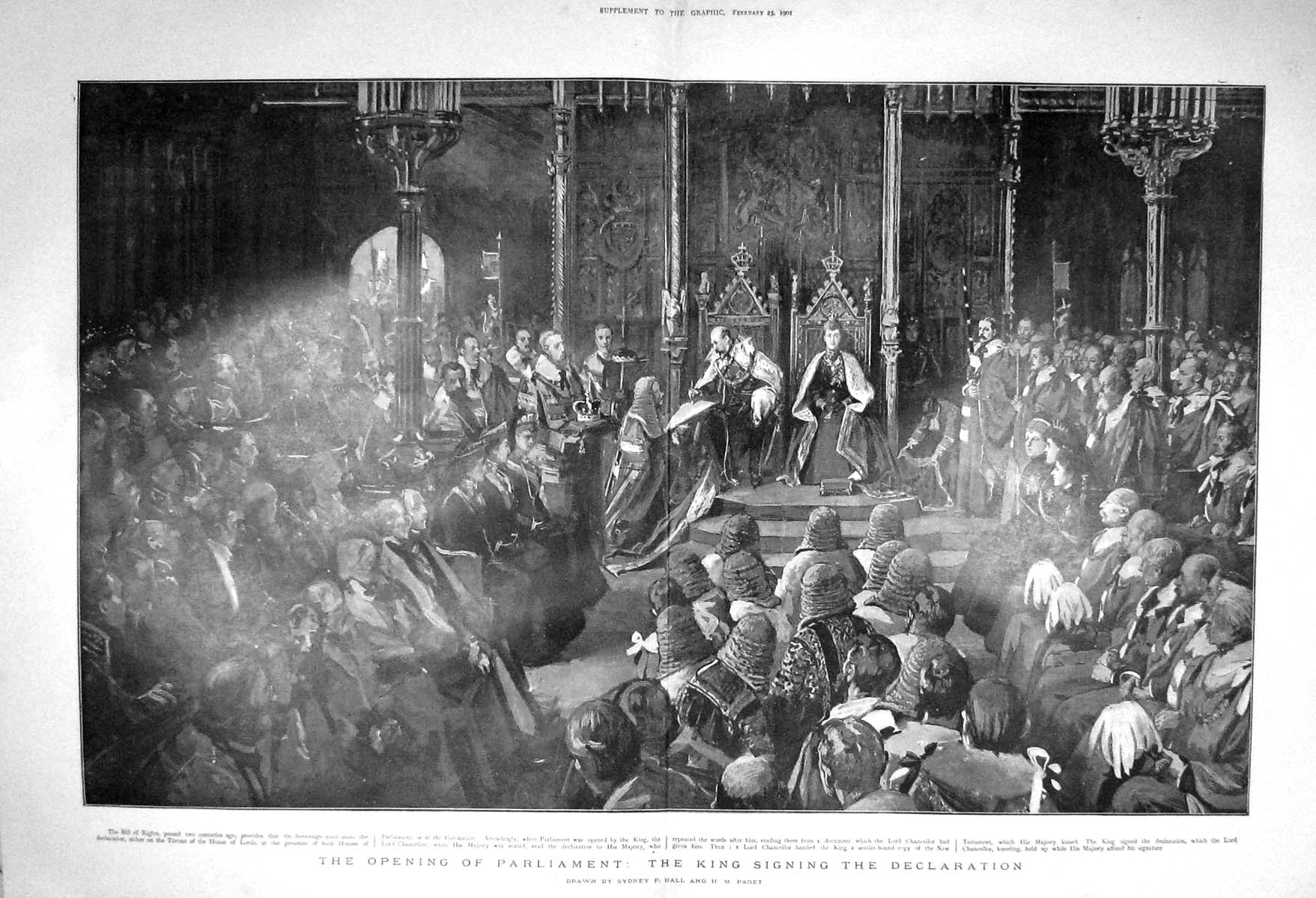[Print 1901 Opening Houses Parliament England King Chancellor 907Tm163 Old Original]