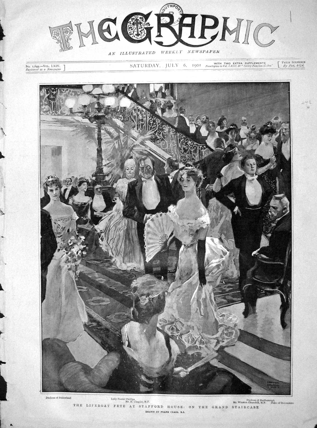 [Print 1901 Lifeboat Fete Stafford House Churchill Sutherland 001M164 Old Original]